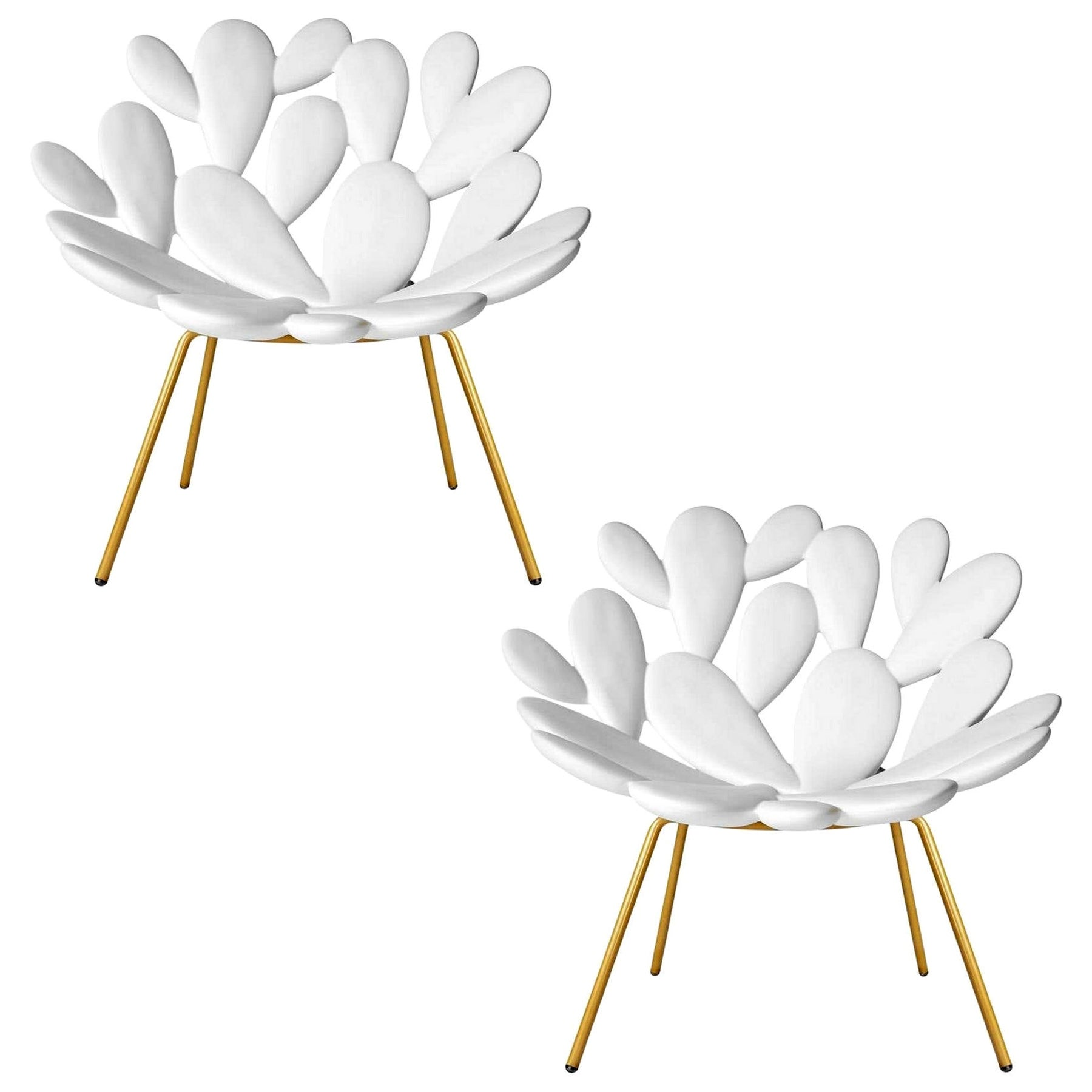 In Stock in Los Angeles, Set of 2 White and Brass Outdoor Cactus Chairs