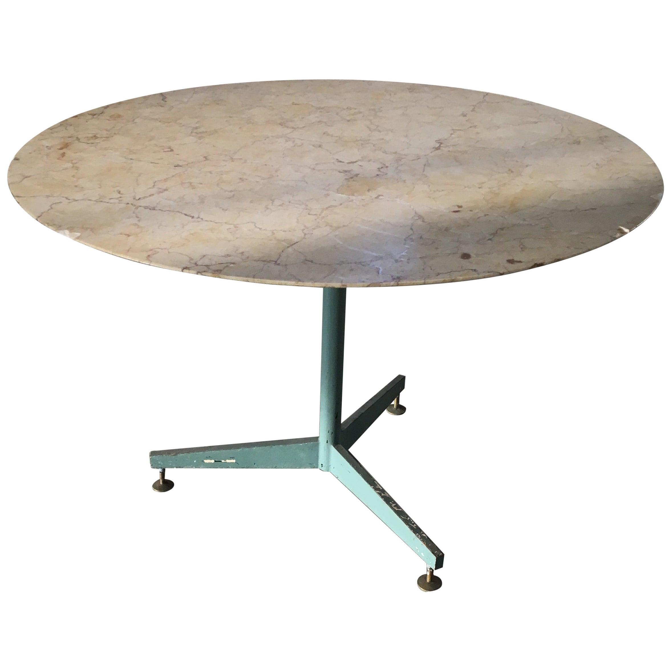 Mid-Century Modern Italian Iron Base Table with Marble Top, 1960s
