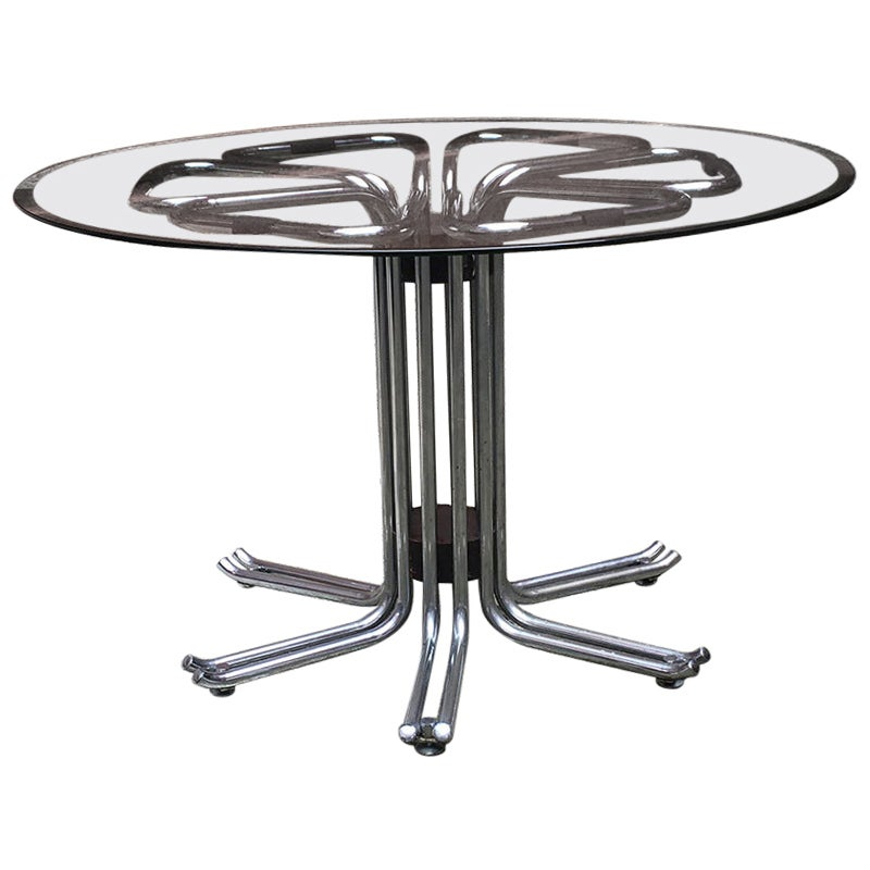 Italian Vintage Chromed Steel, Glass and Wood Detail Dining Table, 1970s
