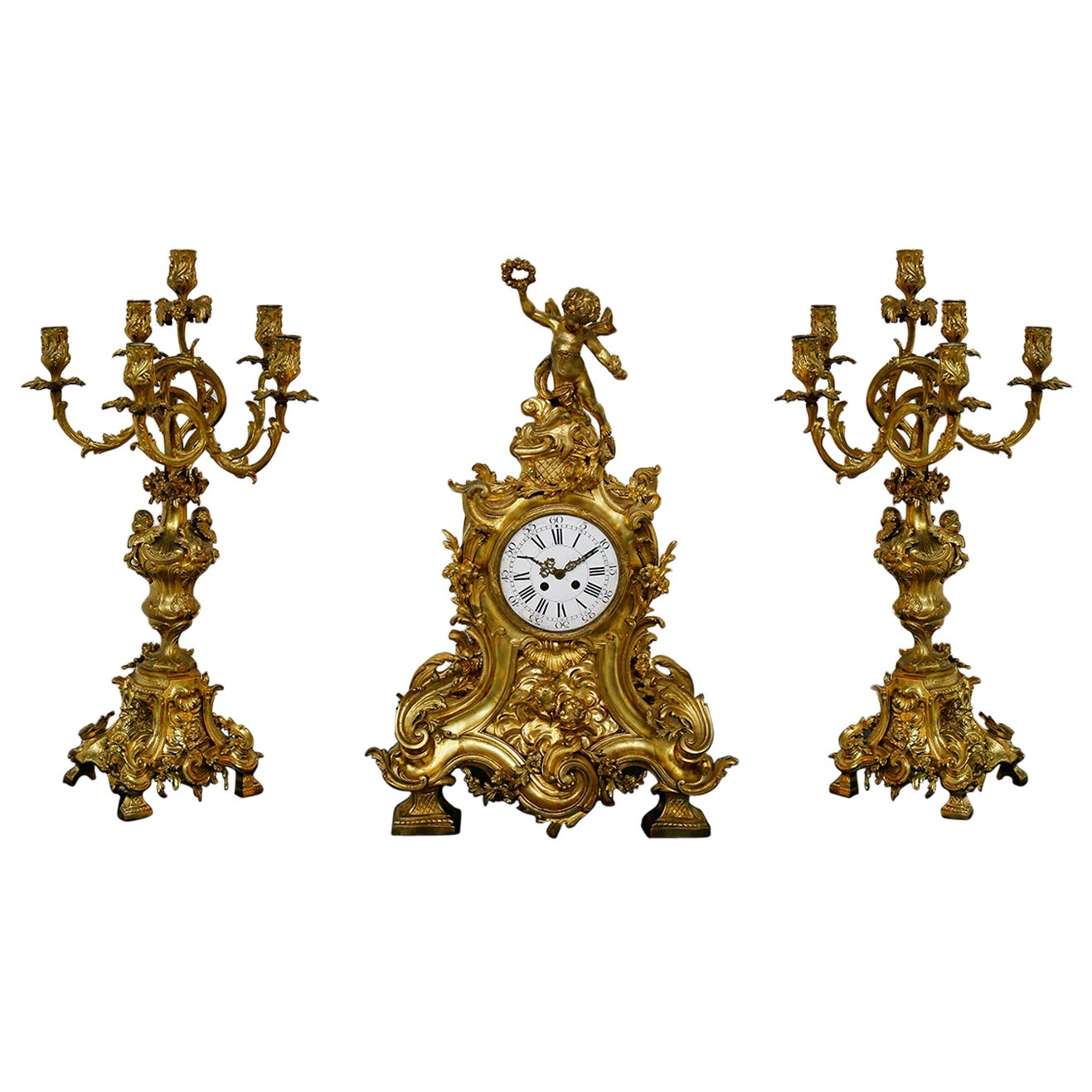 Three-Piece Clock by Samuel Marti Attributed Alfred Emmanuel Louis Beurdeley