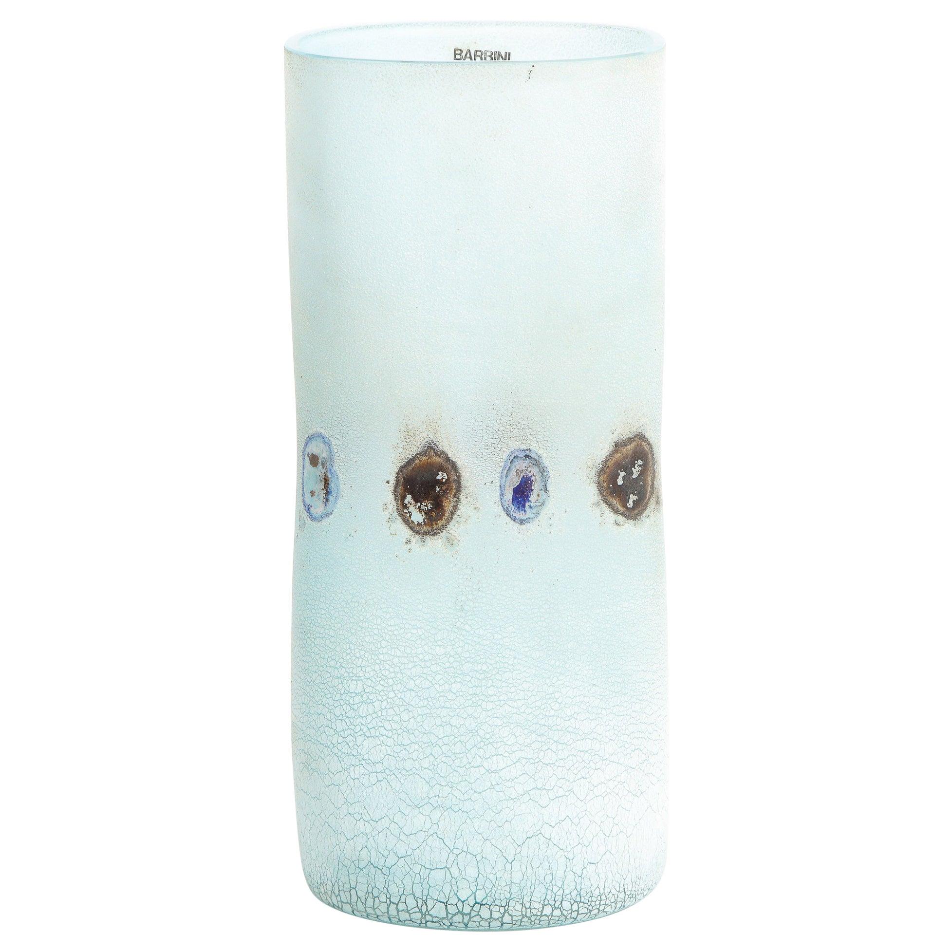 Barbini Midcentury Craqueleur Powder Blue Murano Glass Vase with Organic Detail