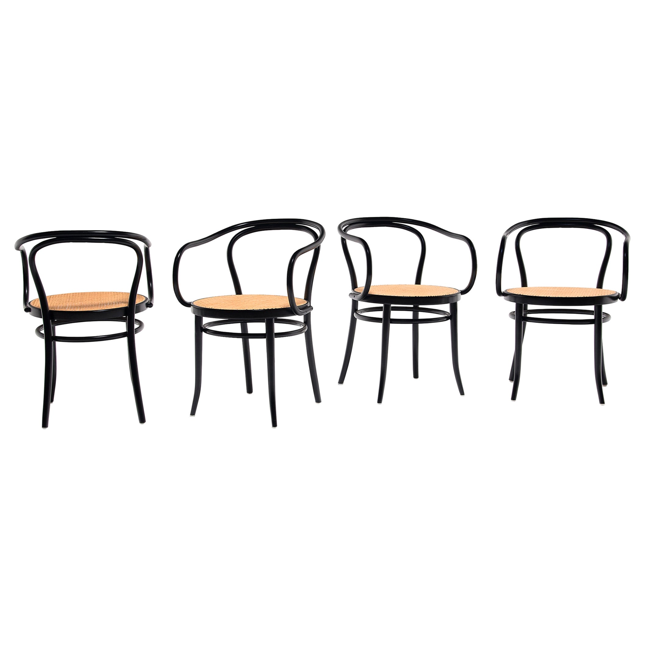 Set of Four Vintage Thonet Bentwood Cane Chairs