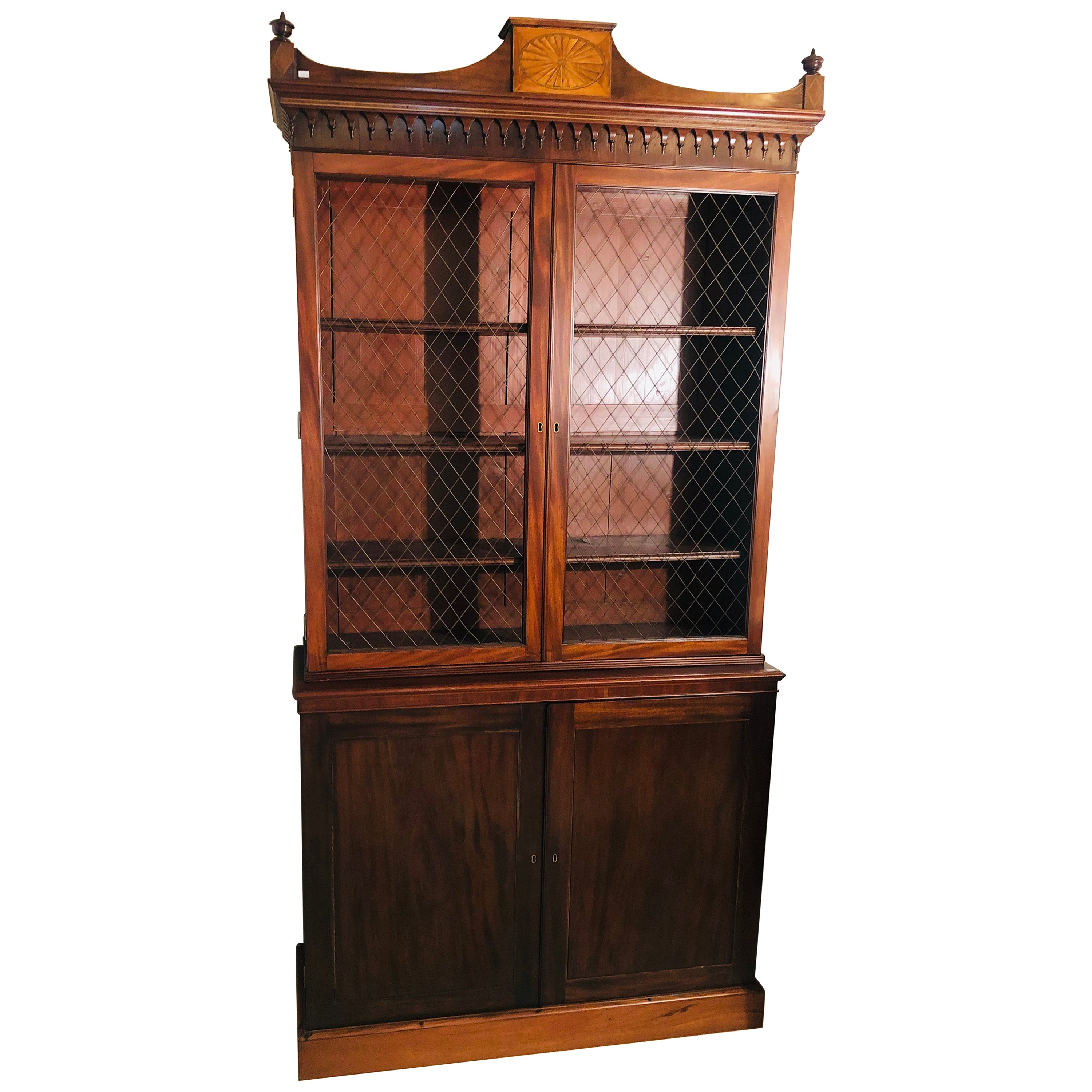 19th Century Sheraton Style English Cupboard Bookcase with Grill Doors
