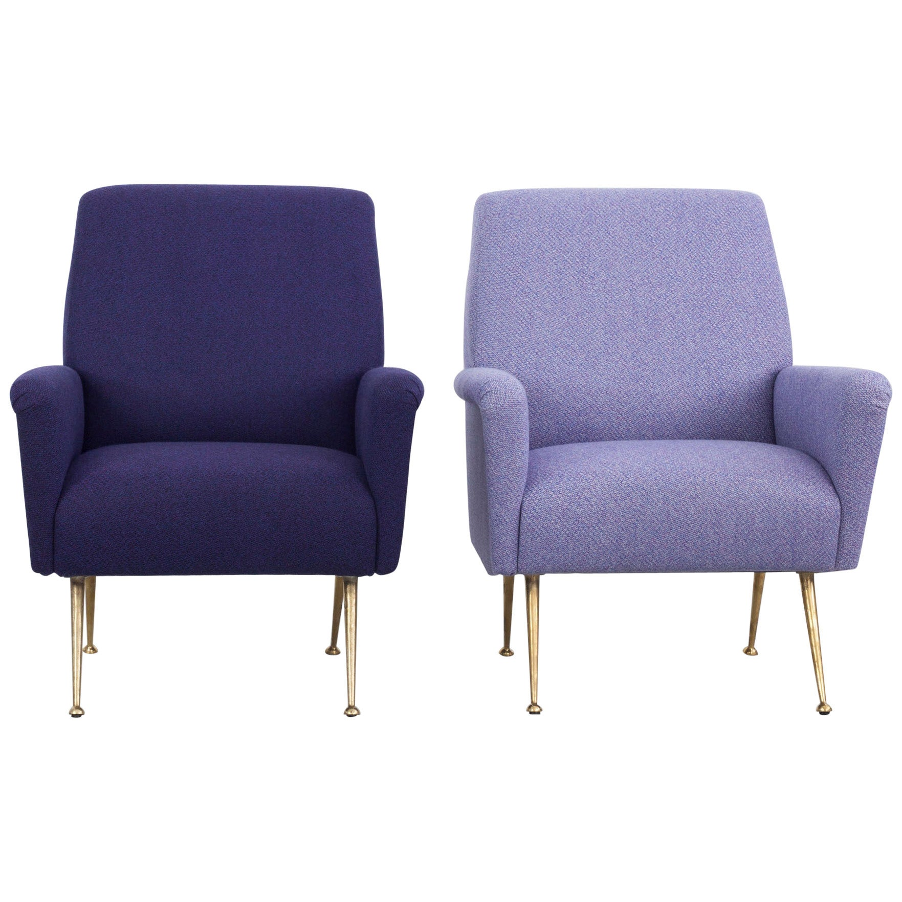Pair of Reupholstered Italian Armchairs, Italy, 1950s