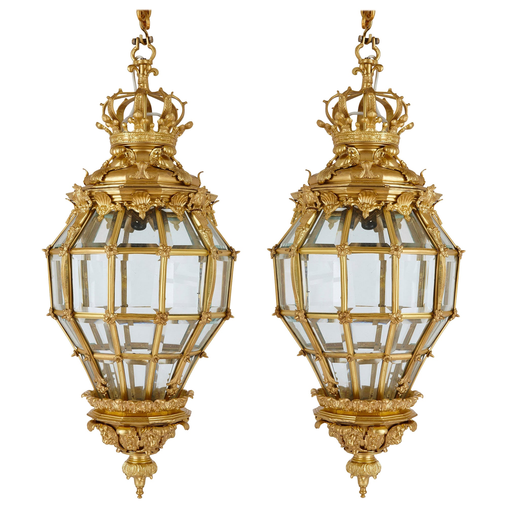 Pair of Louis XVI Style Gilt Bronze and Glass Lanterns