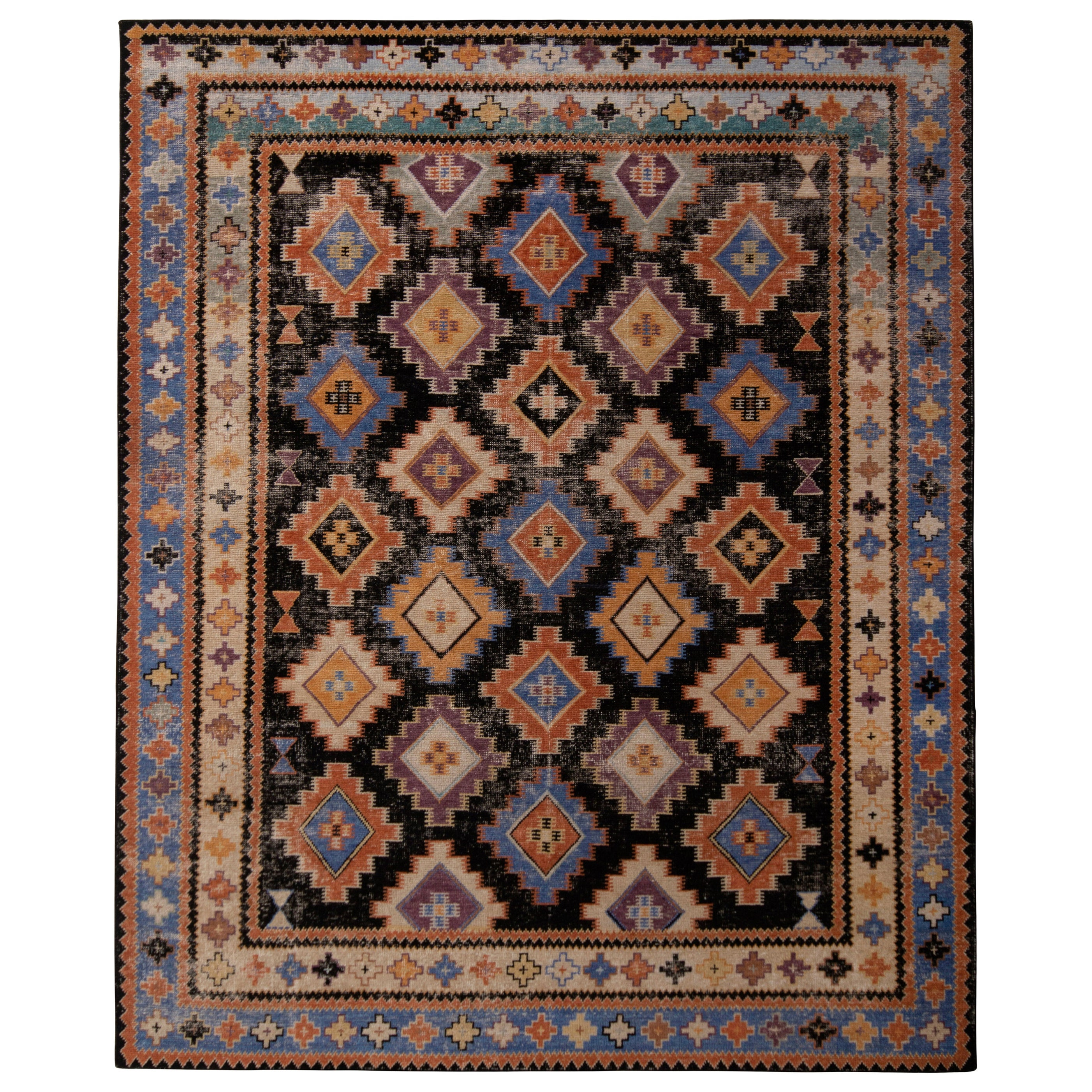Hand Knotted Classic Rug Diamond Beige and Blue Tribal Pattern by Rug & Kilim