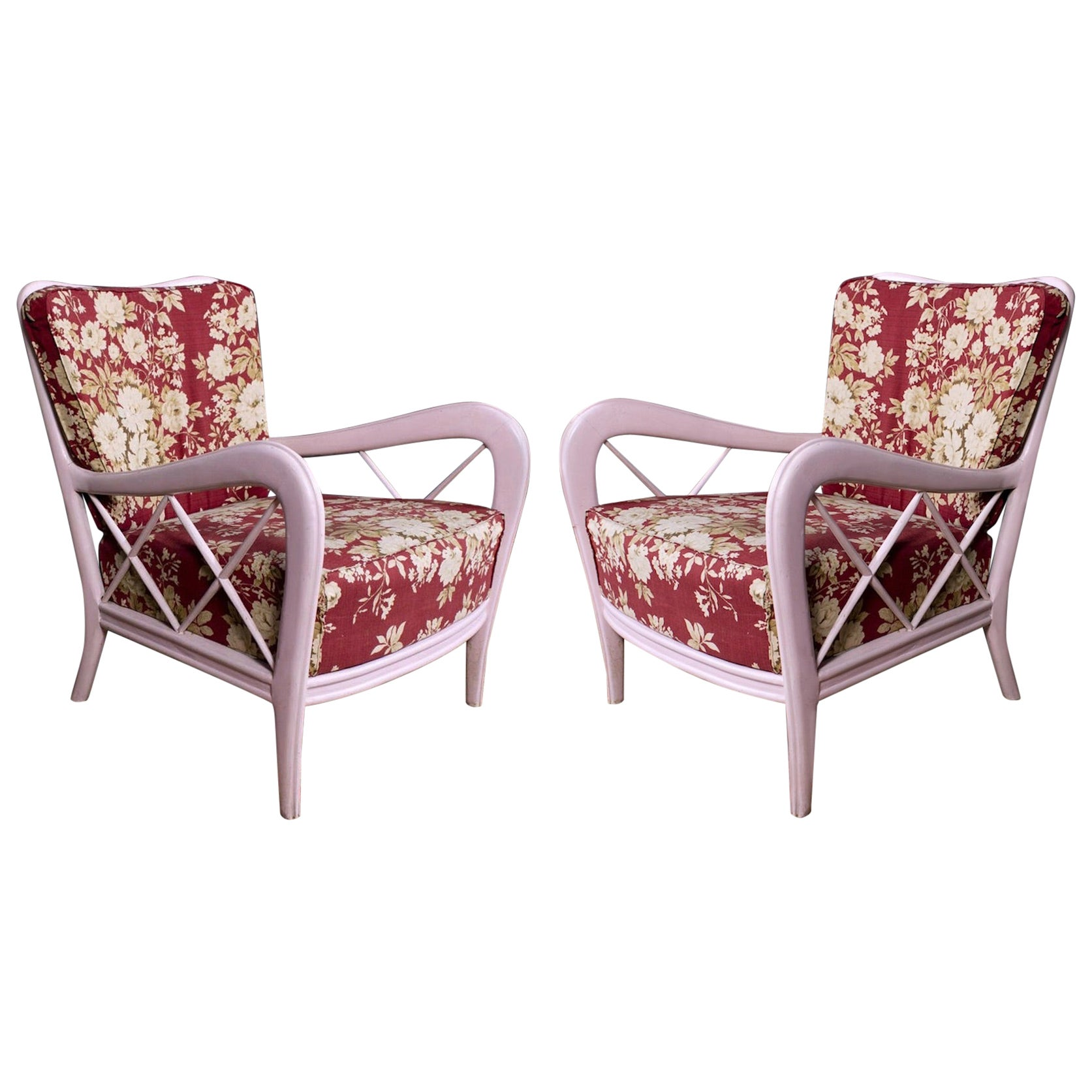 Pair of Pink Italian Midcentury Armchairs Paolo Buffa Style, 1950s