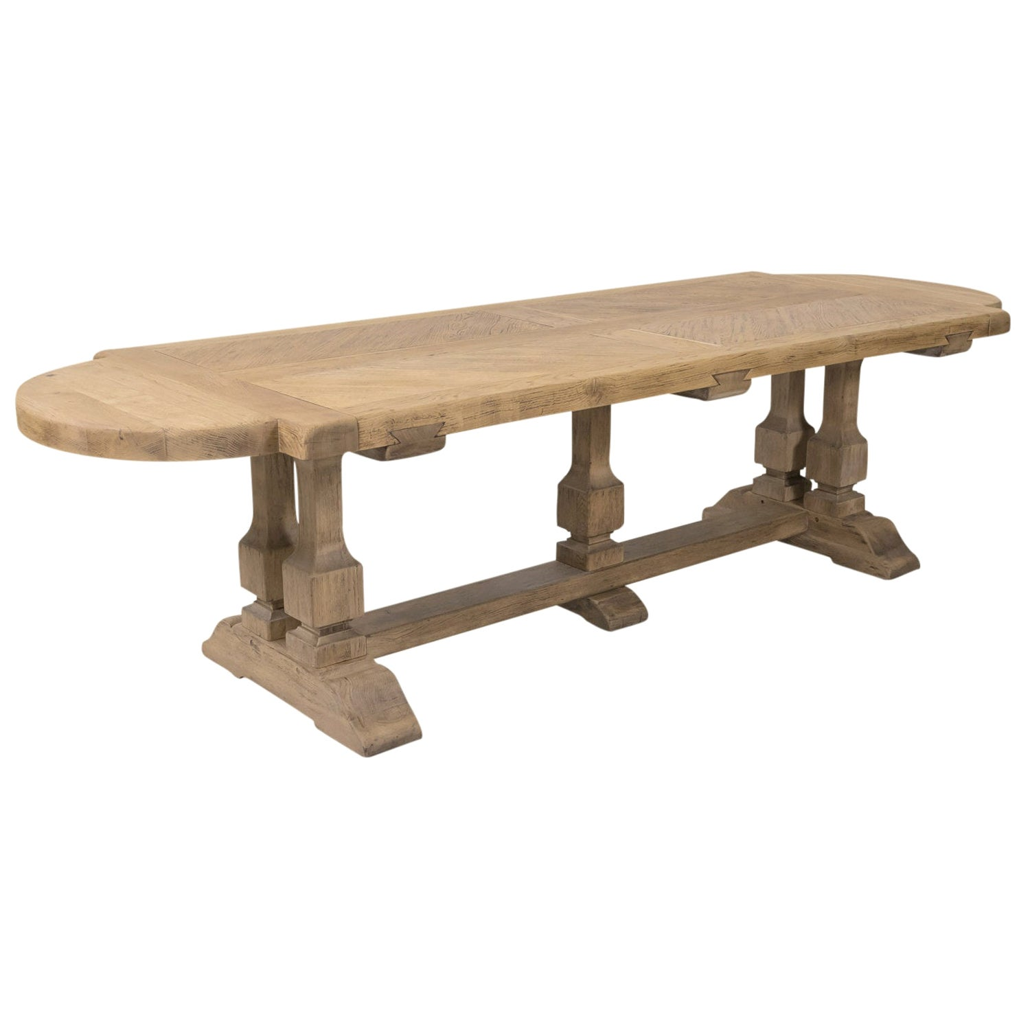 Large Antique French Normandy Bleached Oak Monastery Trestle Table