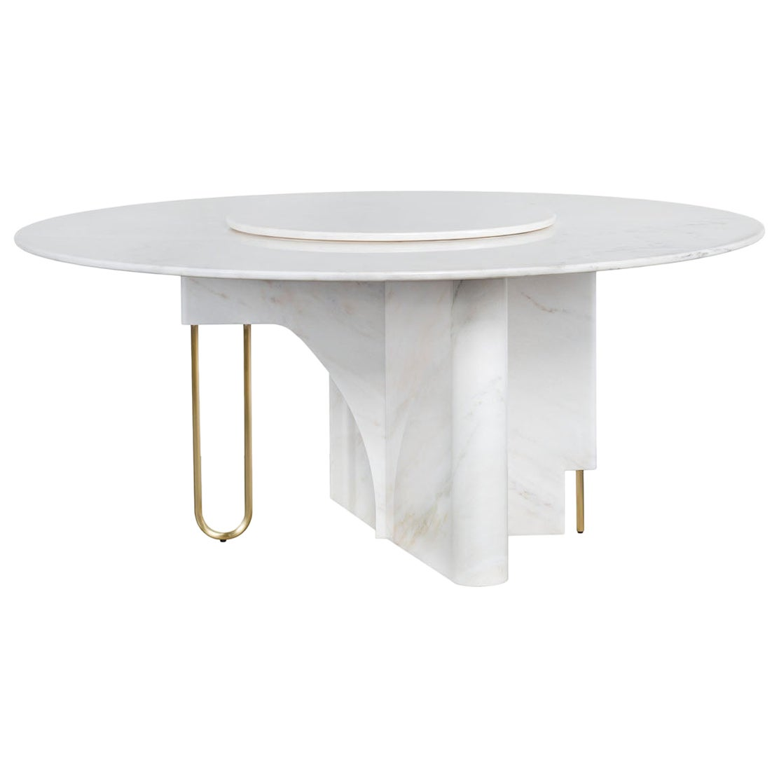 Ferreirinha 8-Seat Round Dining Table Lazy Susan Calacatta Bianco Brushed Brass