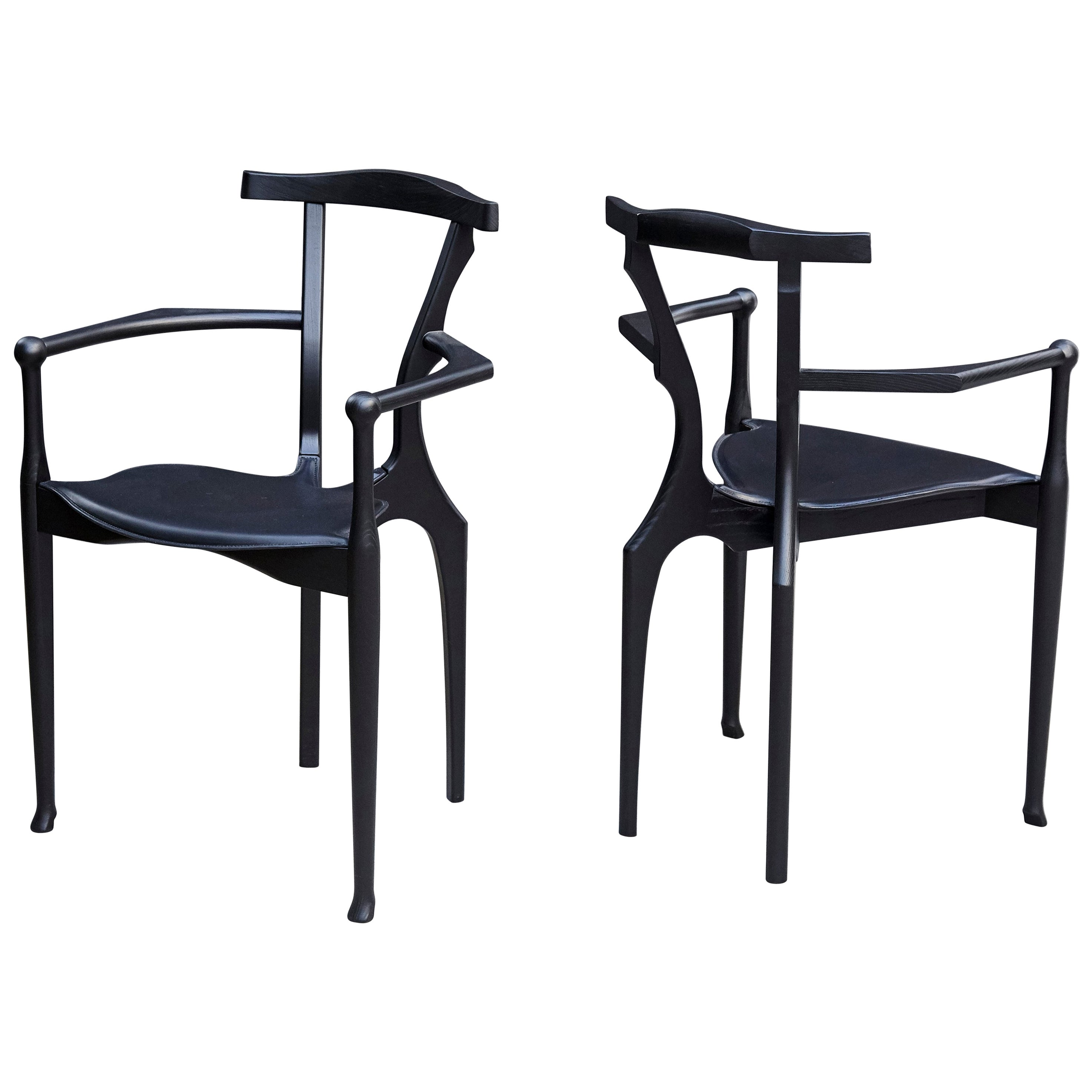 Pair of 2 Oscar Tusquets Gaulino Black Wood Leather Chairs by BD Barcelona