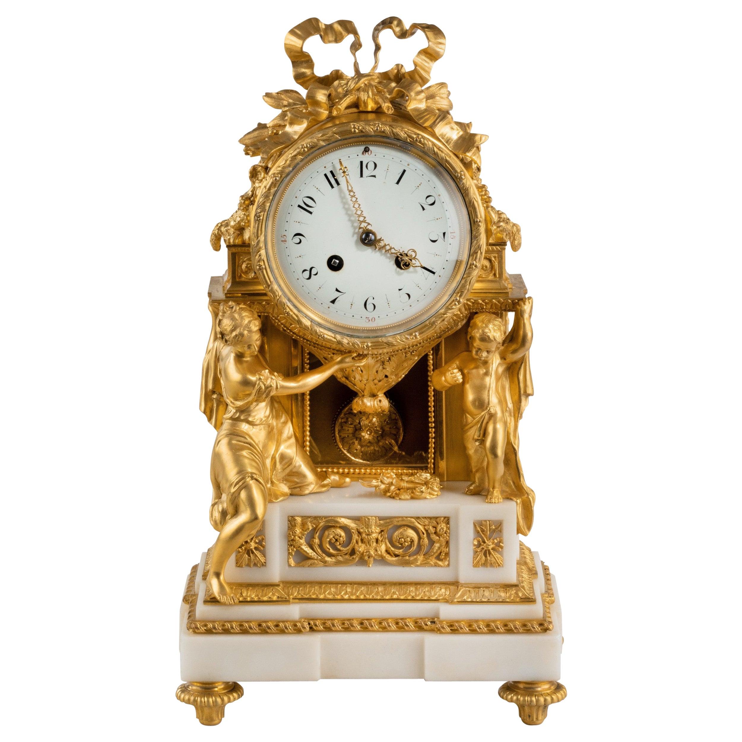 Gilt Bronze and Ormolu Mantle Clock by Samuel Marti