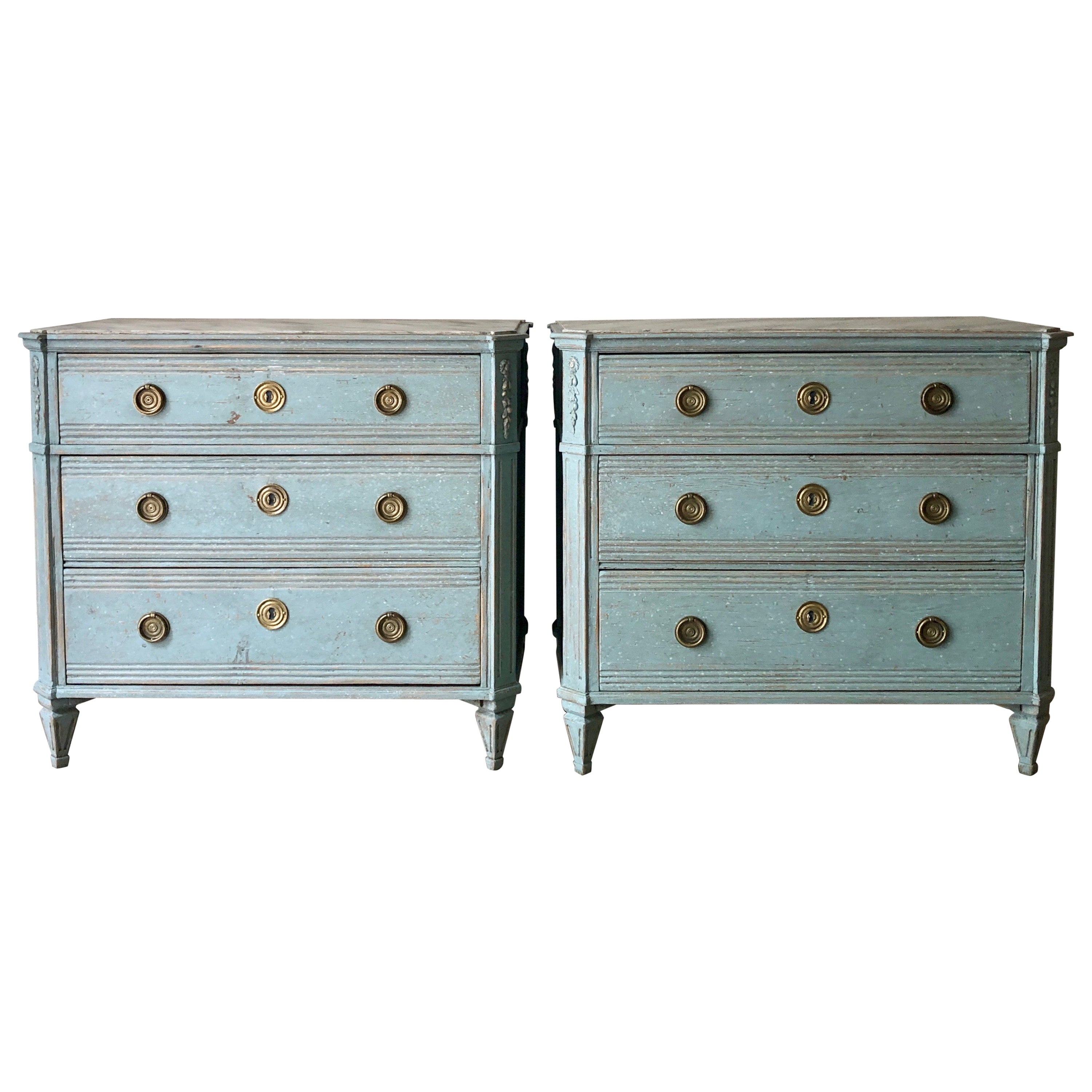 Pair of 19th Century Swedish Painted Chest of Drawers