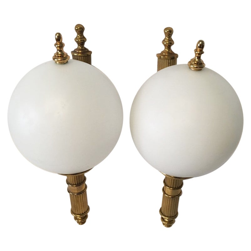 Pair of Art Deco Style Brass and Milk Glass Sconces from Germany, 1970s