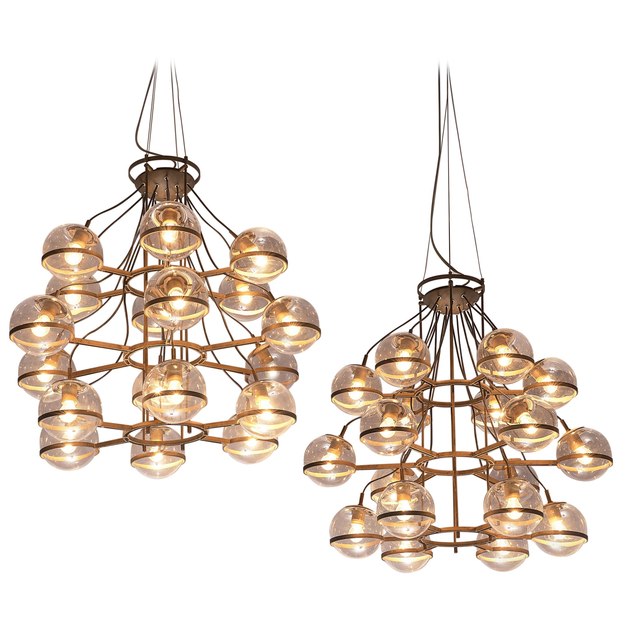 Large French Brass Chandeliers with Eighteen-Glass Spheres