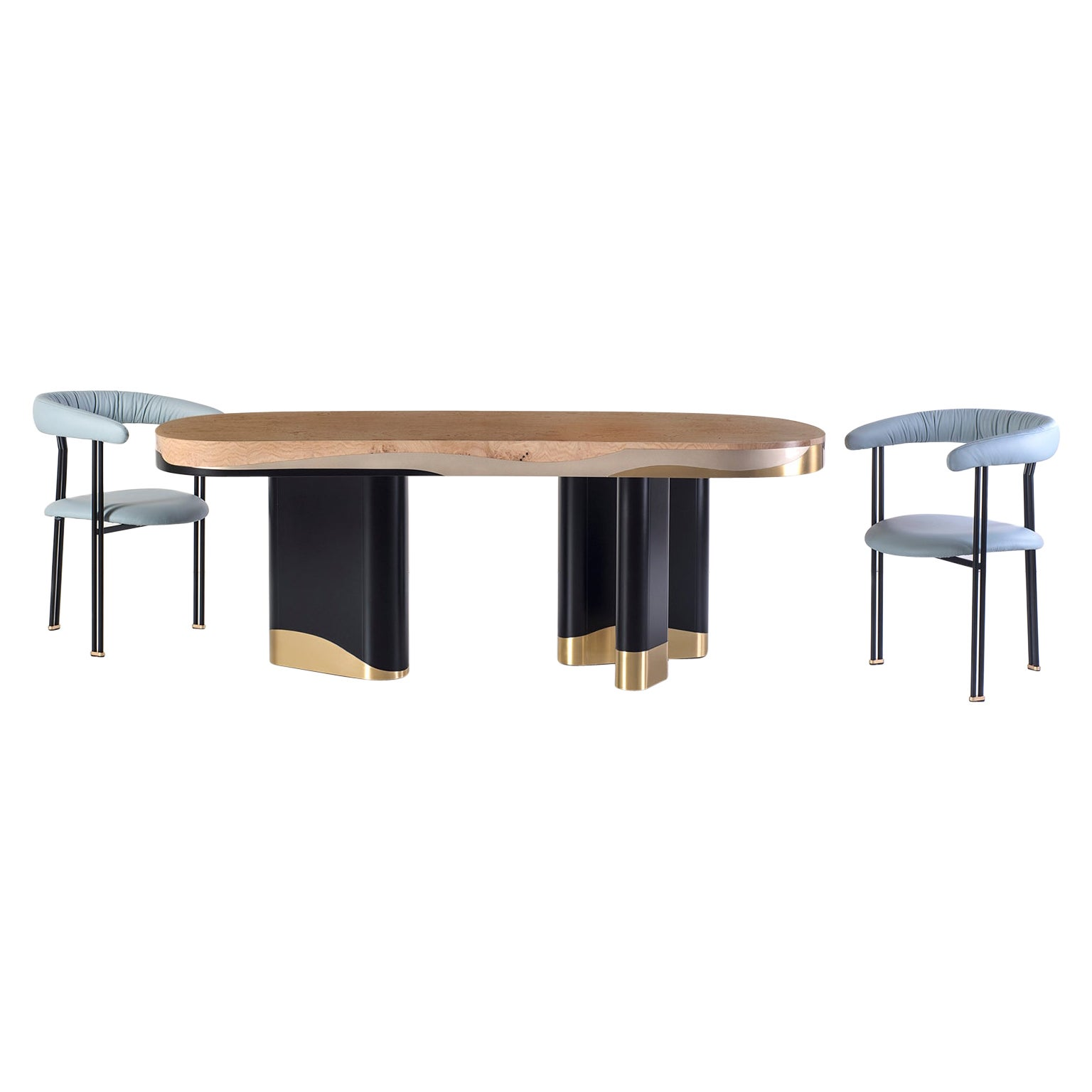 Sistelo 6-Seat Dining Table Oak Root Black Champagne Lacquer Brushed Brass