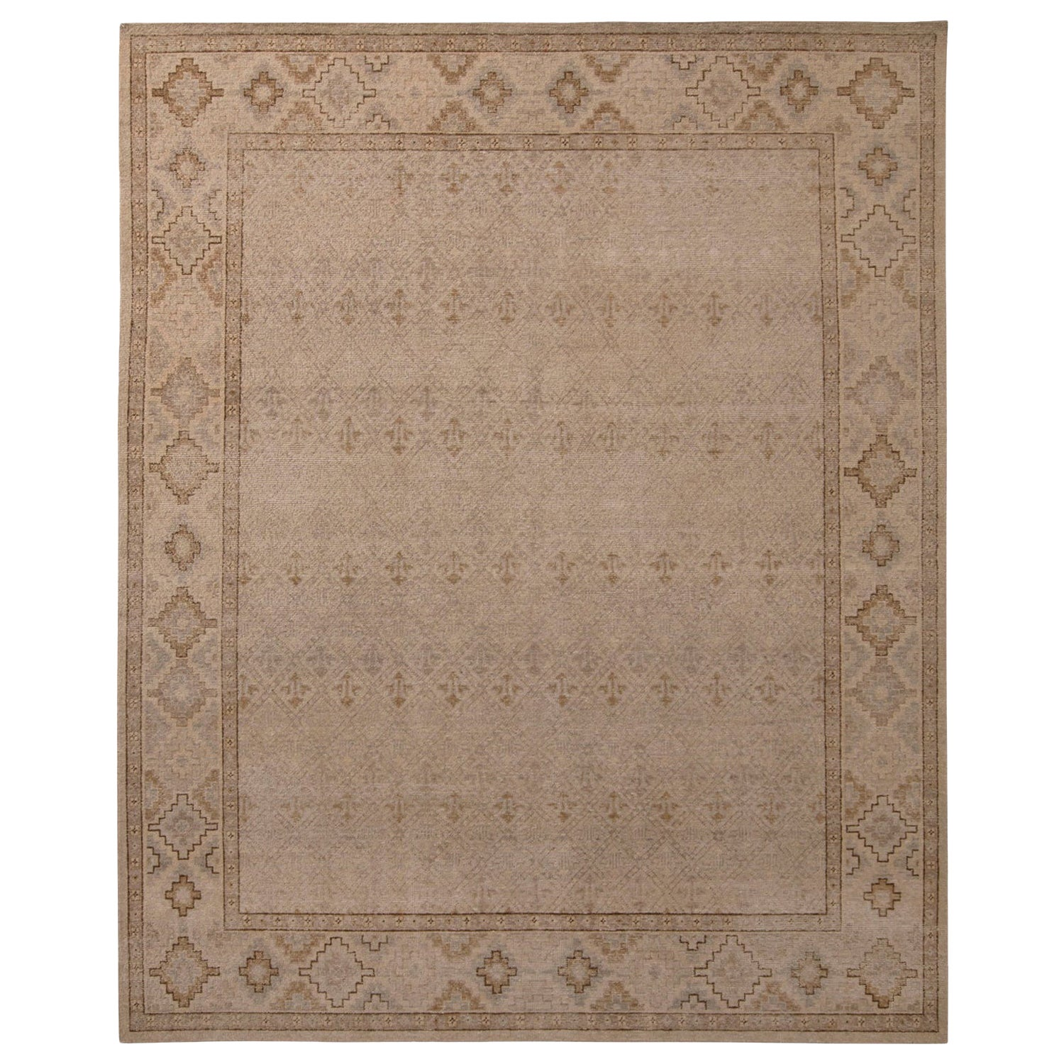 Rug & Kilim's Homage Geometric Beige-Brown and Gray Wool Custom Rug