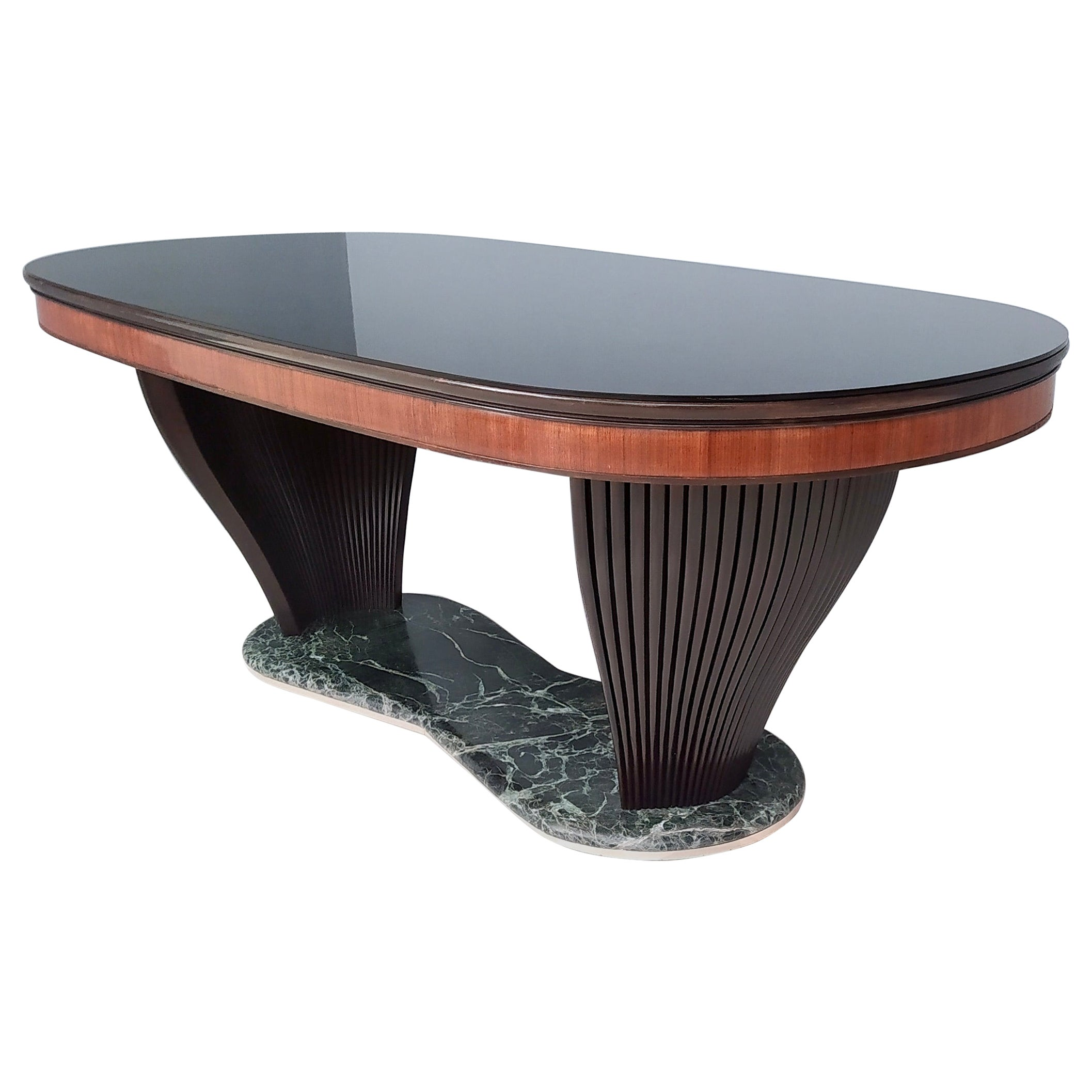Vintage Dining Table by Vittorio Dassi with Opaline Glass Top and Marble Base