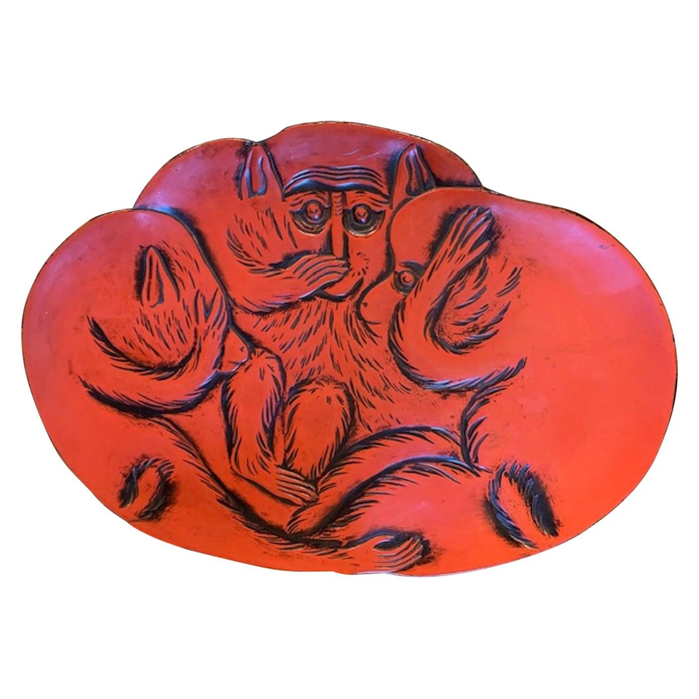 Taisho Period Kamakura-Bori Lacquered Platter