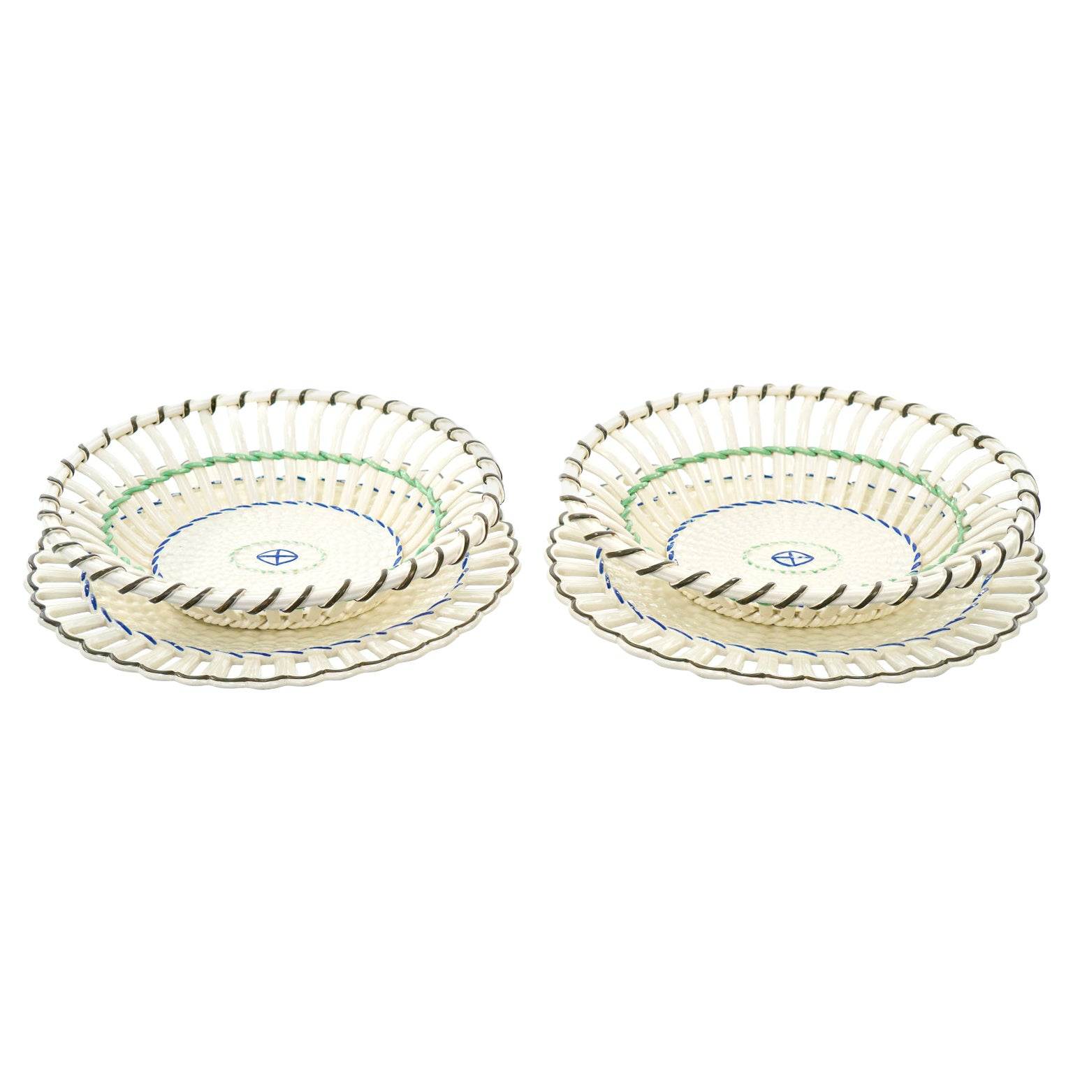 Pair of Wedgwood Creamware Chestnut Baskets and Underplates