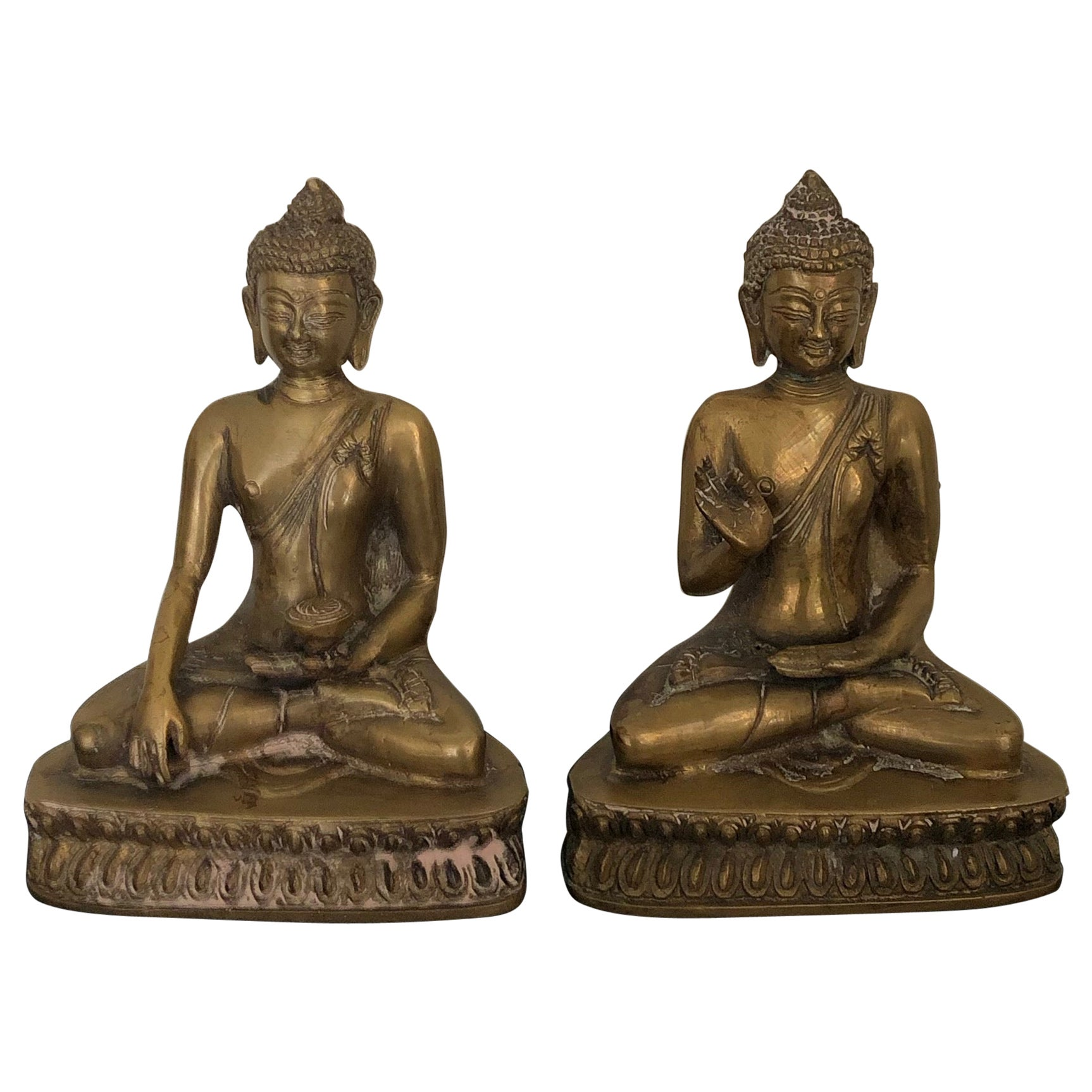 Two Vintage 20th Century Golden Brass Buddah Book ends Bookcase Decoration