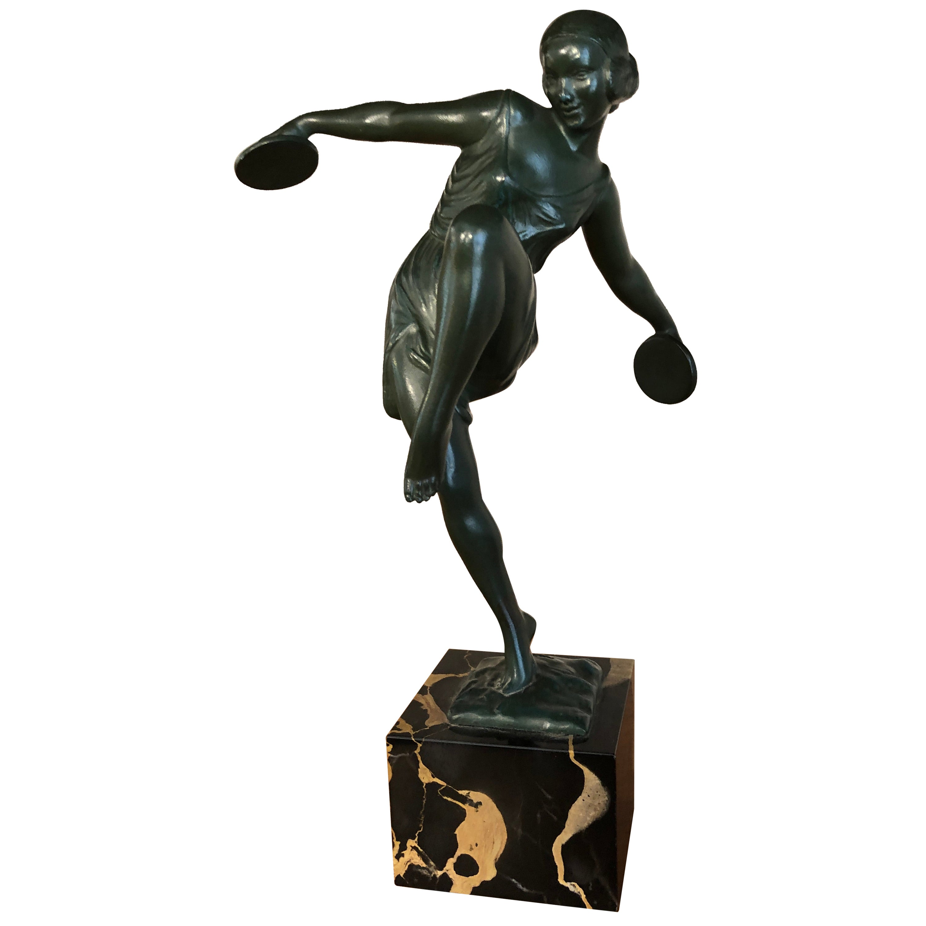 Art Deco Dancer with Cymbals Signed Fayral Sculpture on Mable Base