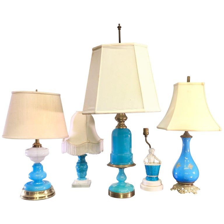 Collection of Blue Glass, Opaline & Ceramic Lamps For Sale