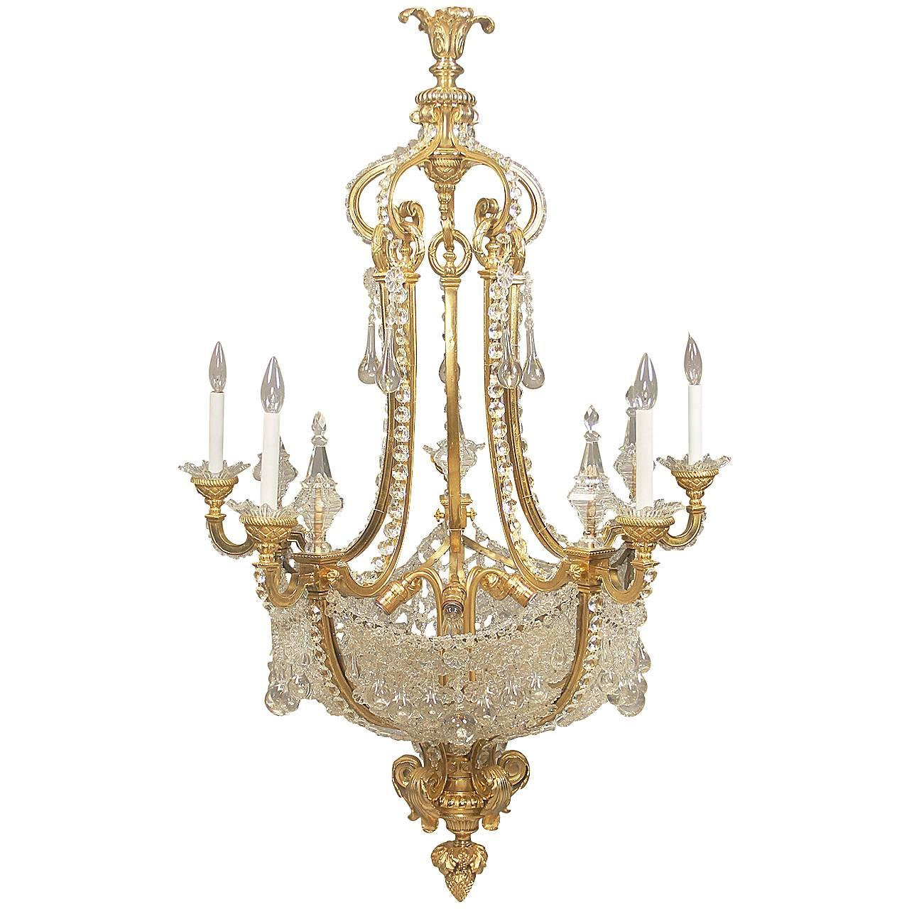 Wonderful Late 19th Century Gilt Bronze and Beaded Chandelier