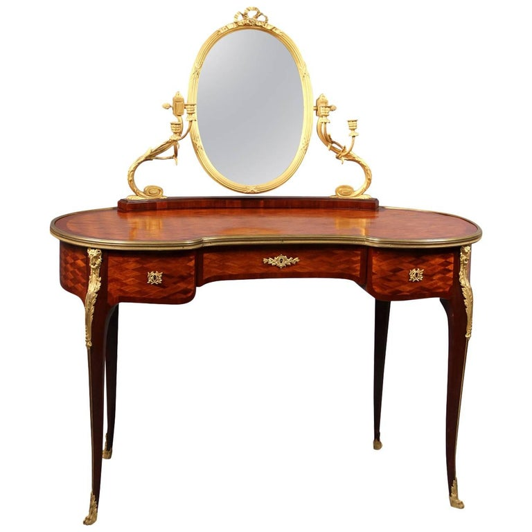 Late 19th Century Gilt Bronze-Mounted Louis XV Style Dressing Table For Sale