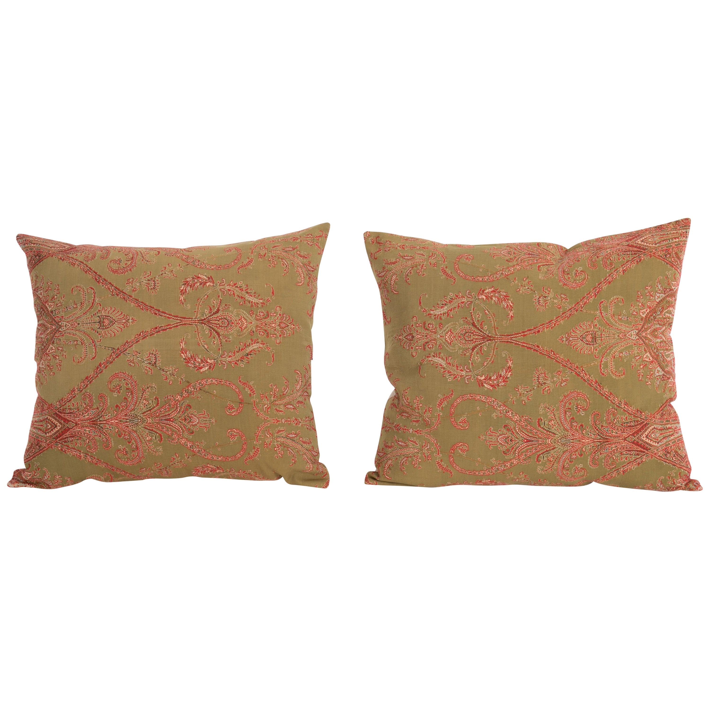 Antique Paisley Wool Pillow Cases, 19th Century