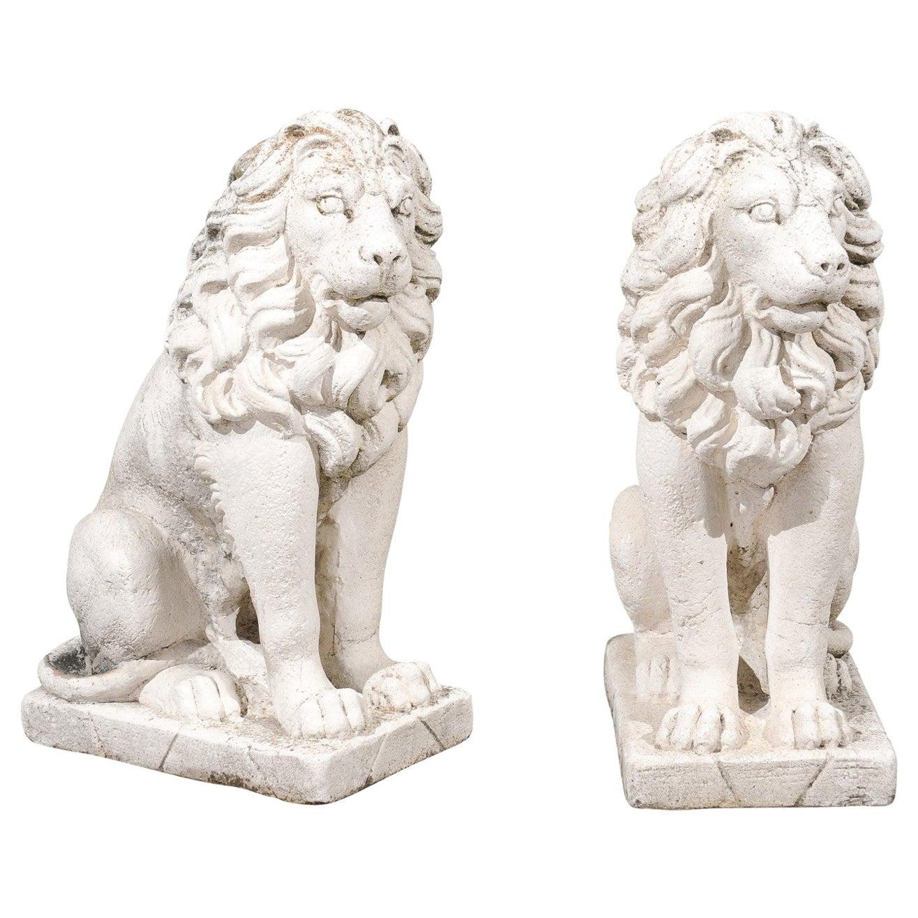 Pair of Italian 20th Century Reconstituted Stone Seated Lions Sculptures