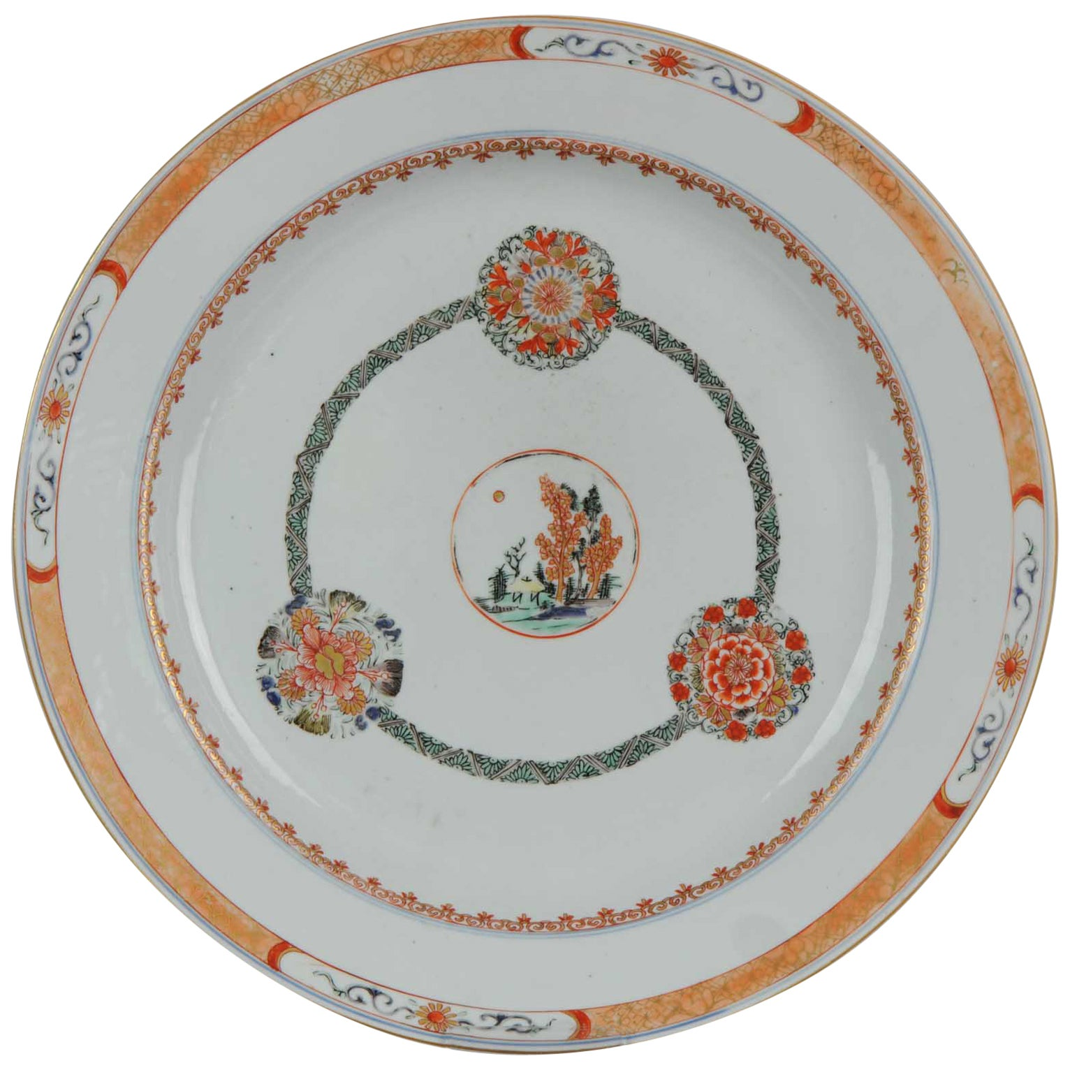 Antique circa 1700 Kangxi Famille Verte Chinese Porcelain Charger Land