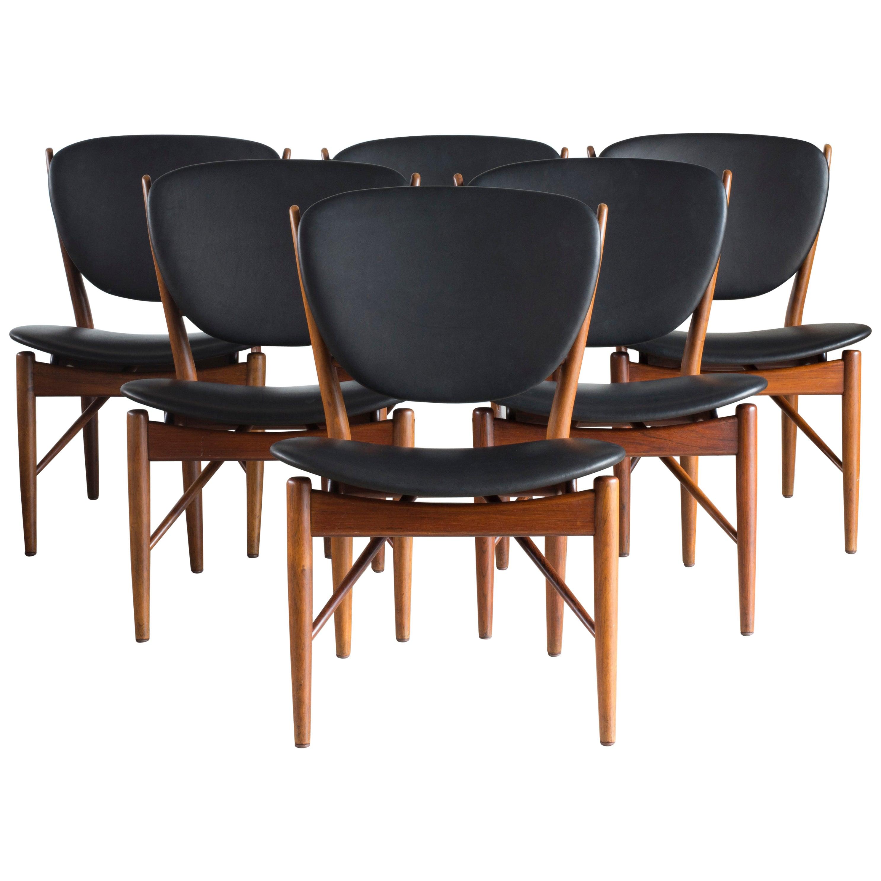 Finn Juhl Set of Six Chairs for Niels Vodder
