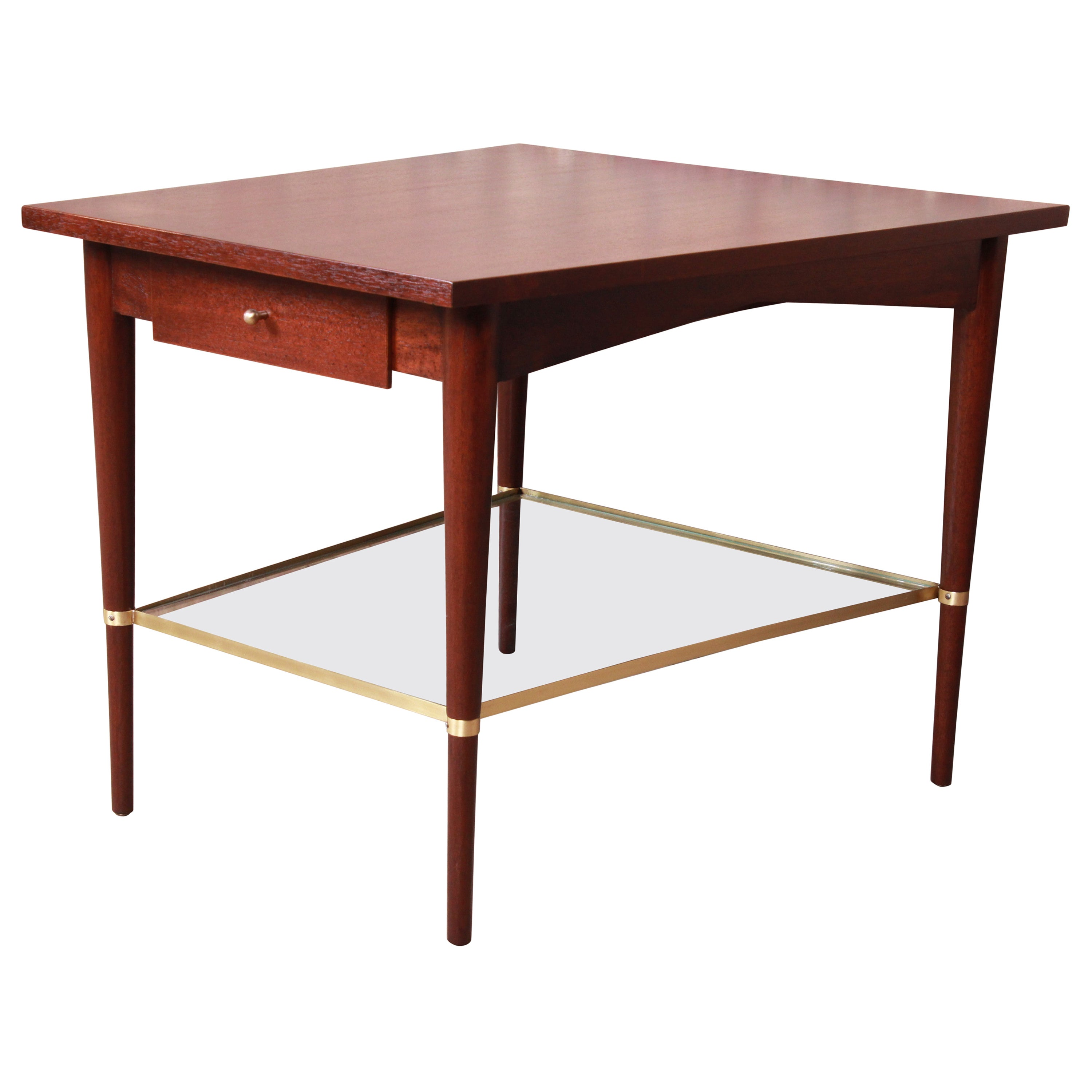Paul McCobb Connoisseur Collection Mahogany and Brass Wedge Side Table, Restored