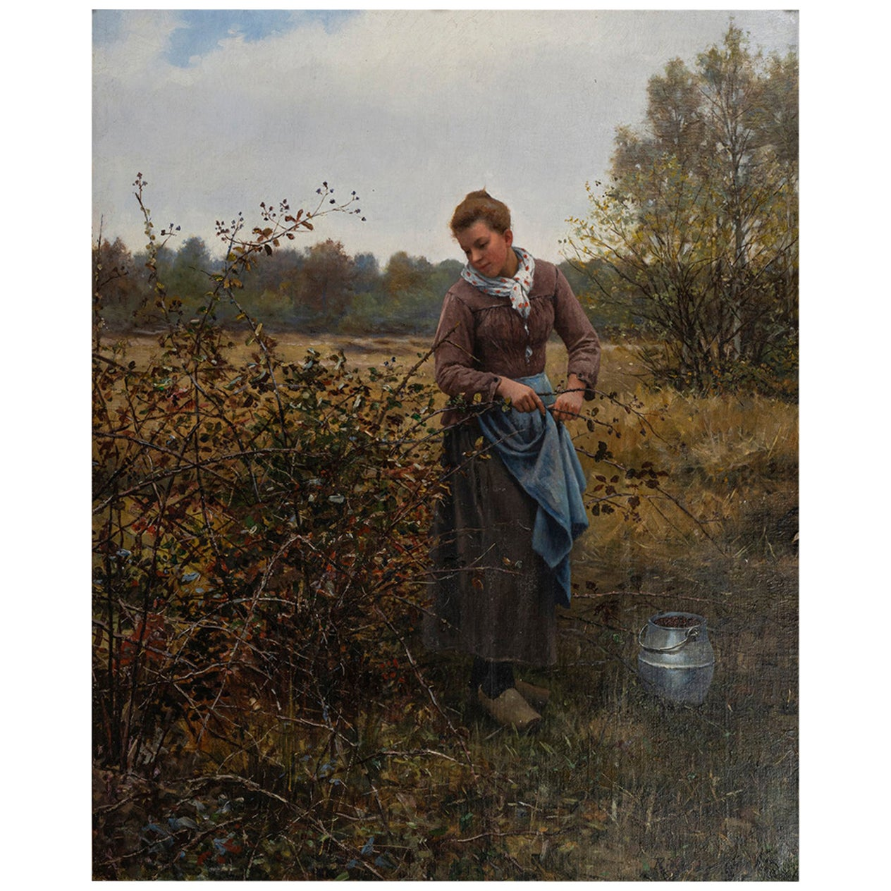 """Picking Berries"" by Daniel Ridgway Knight, Signed Ridgway Knight"