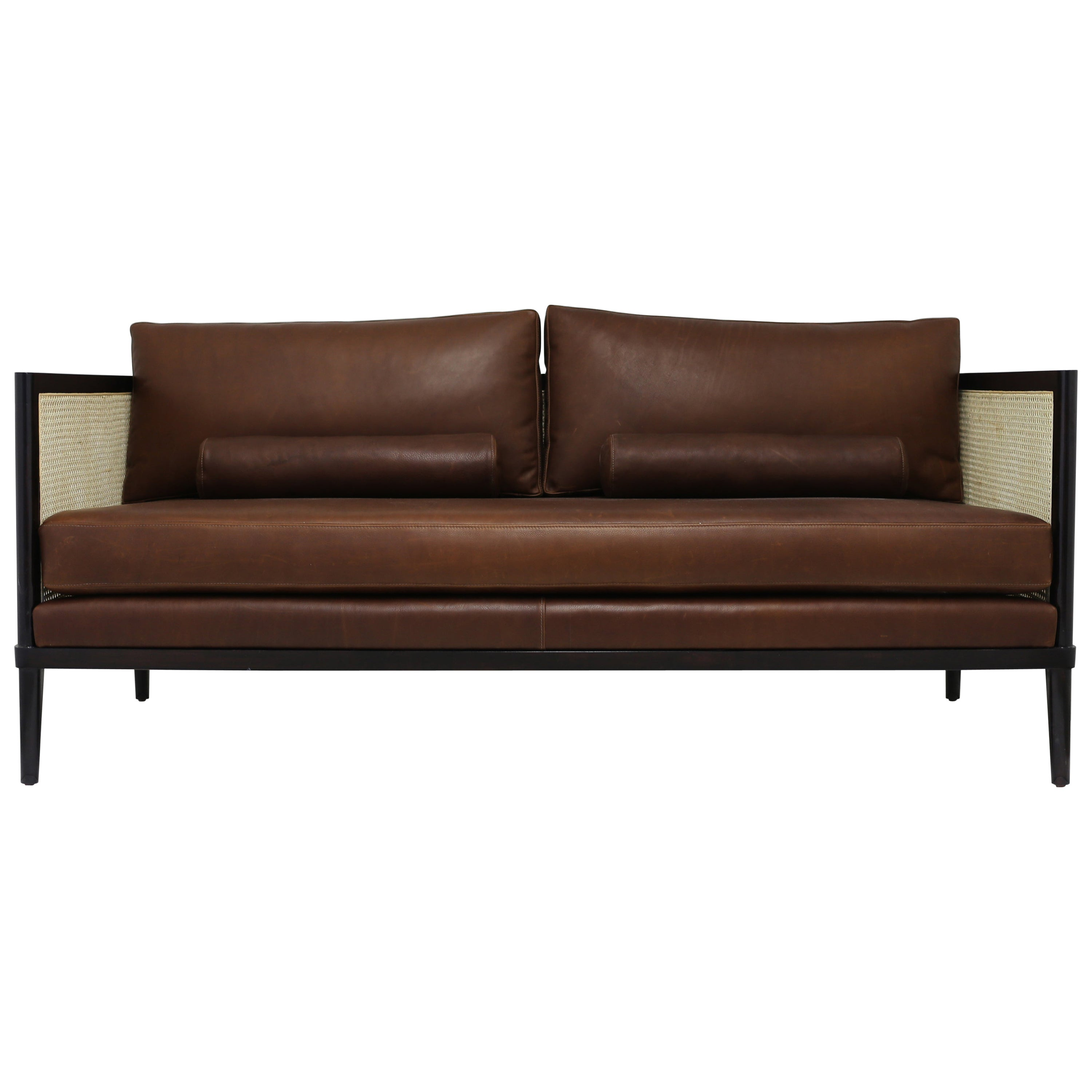 Caned Settee with Leather Back and Seat Cushions with Wood Frame