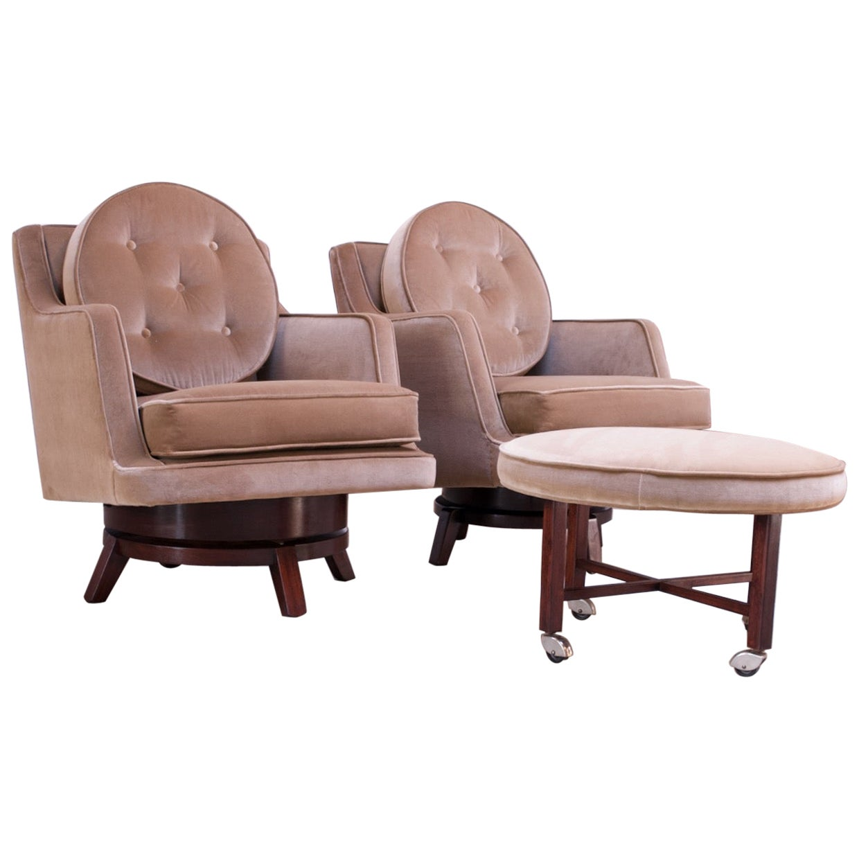 Edward Wormley for Dunbar Revolving Lounge Chairs in Mahogany with Ottoman