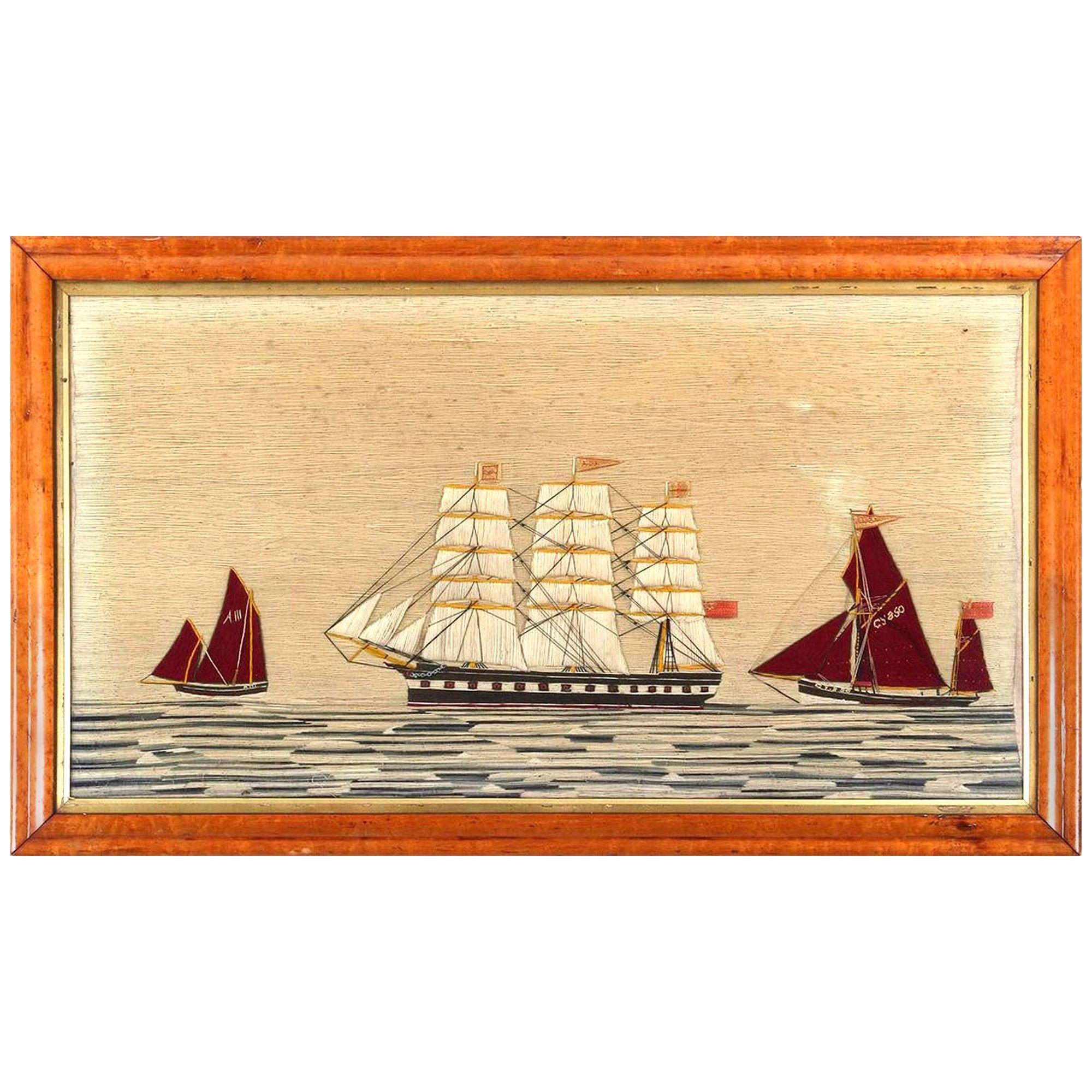British Woolwork 'Woolie' of Three Ships, circa 1875