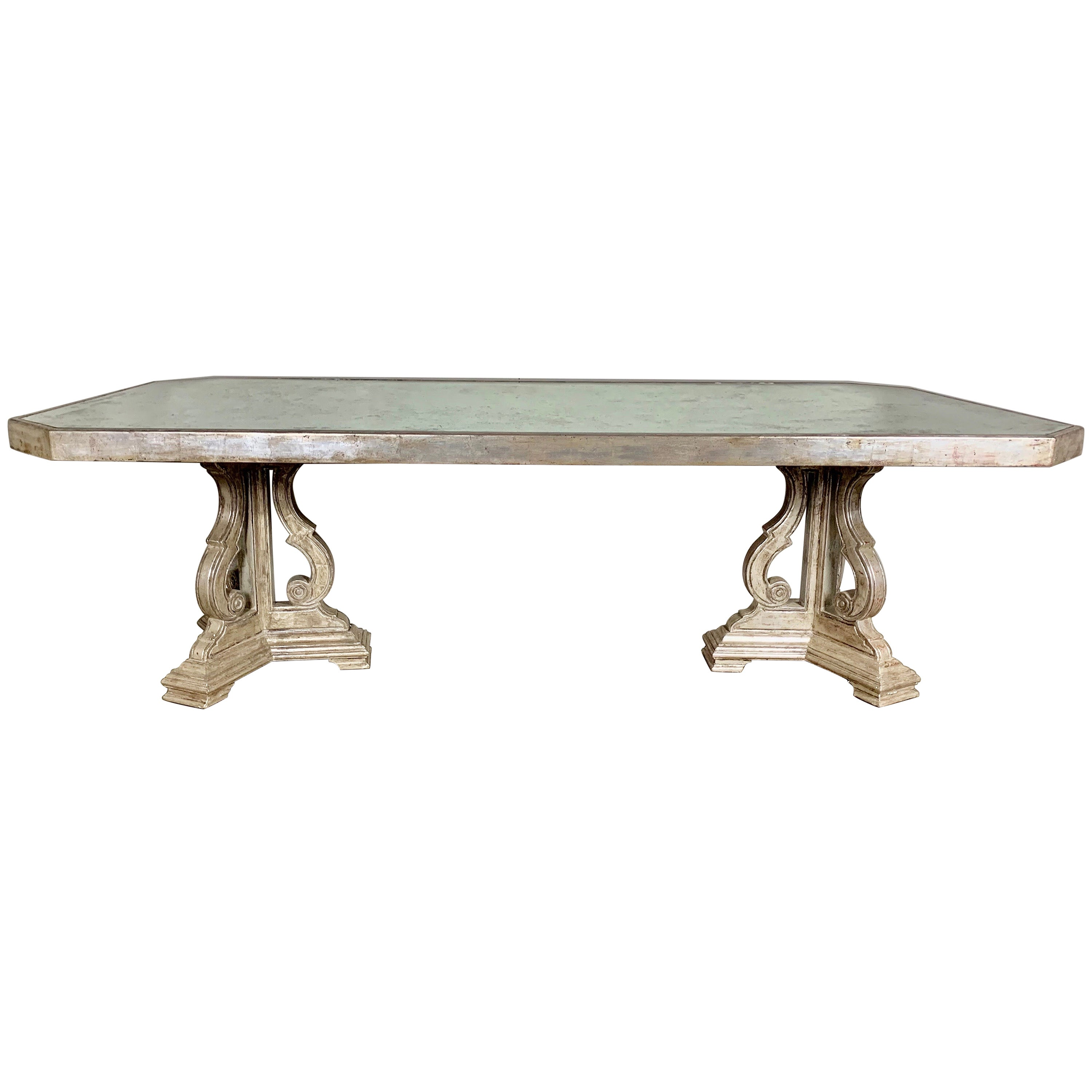Hollywood Regency Style Silvered and Mirrored Dining Table