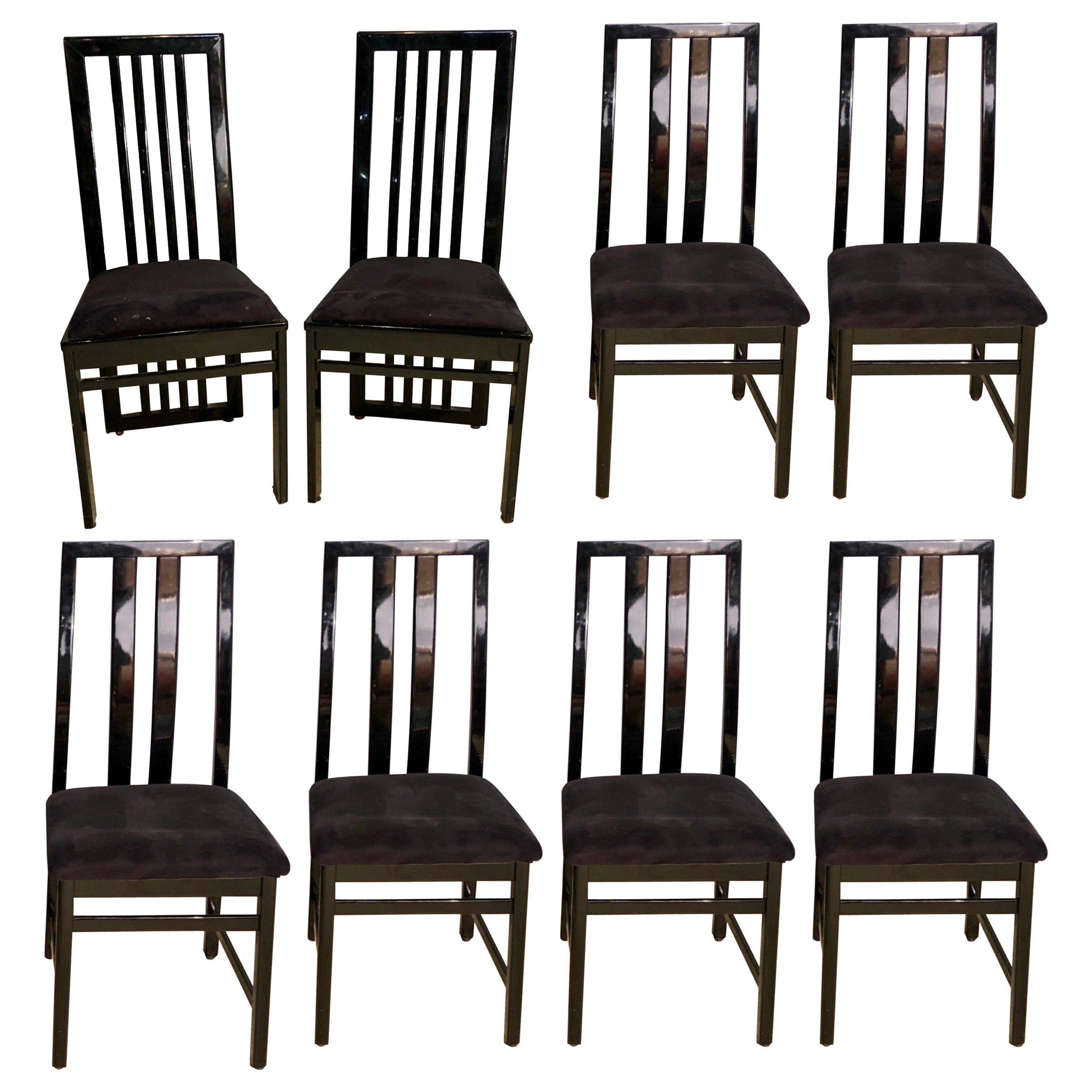 Set of Eight M.E.A Dining Chairs, Modern Italian Designer Black Lacquered