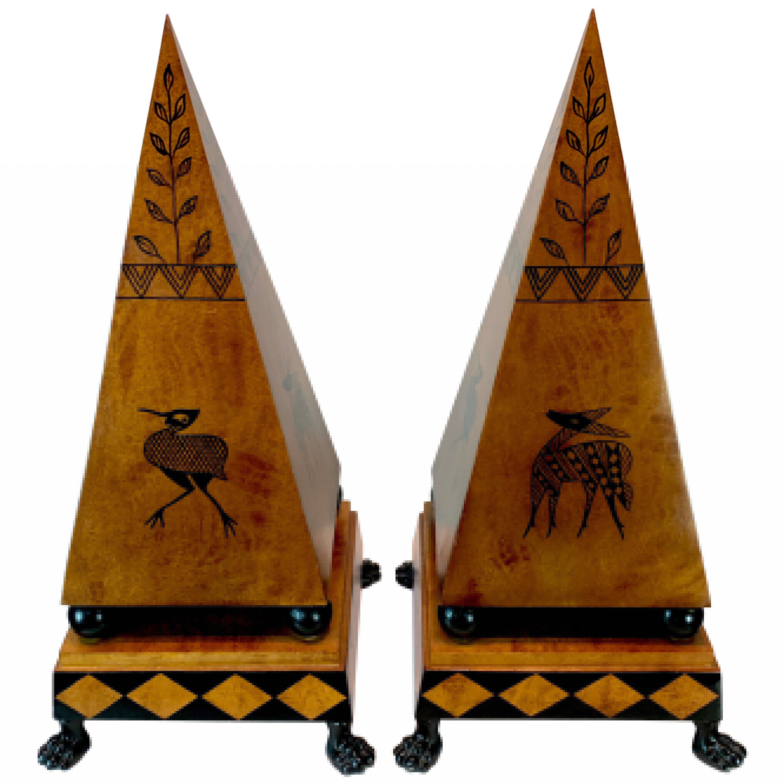 Large Pair of Midcentury Wood and Tole Obelisks