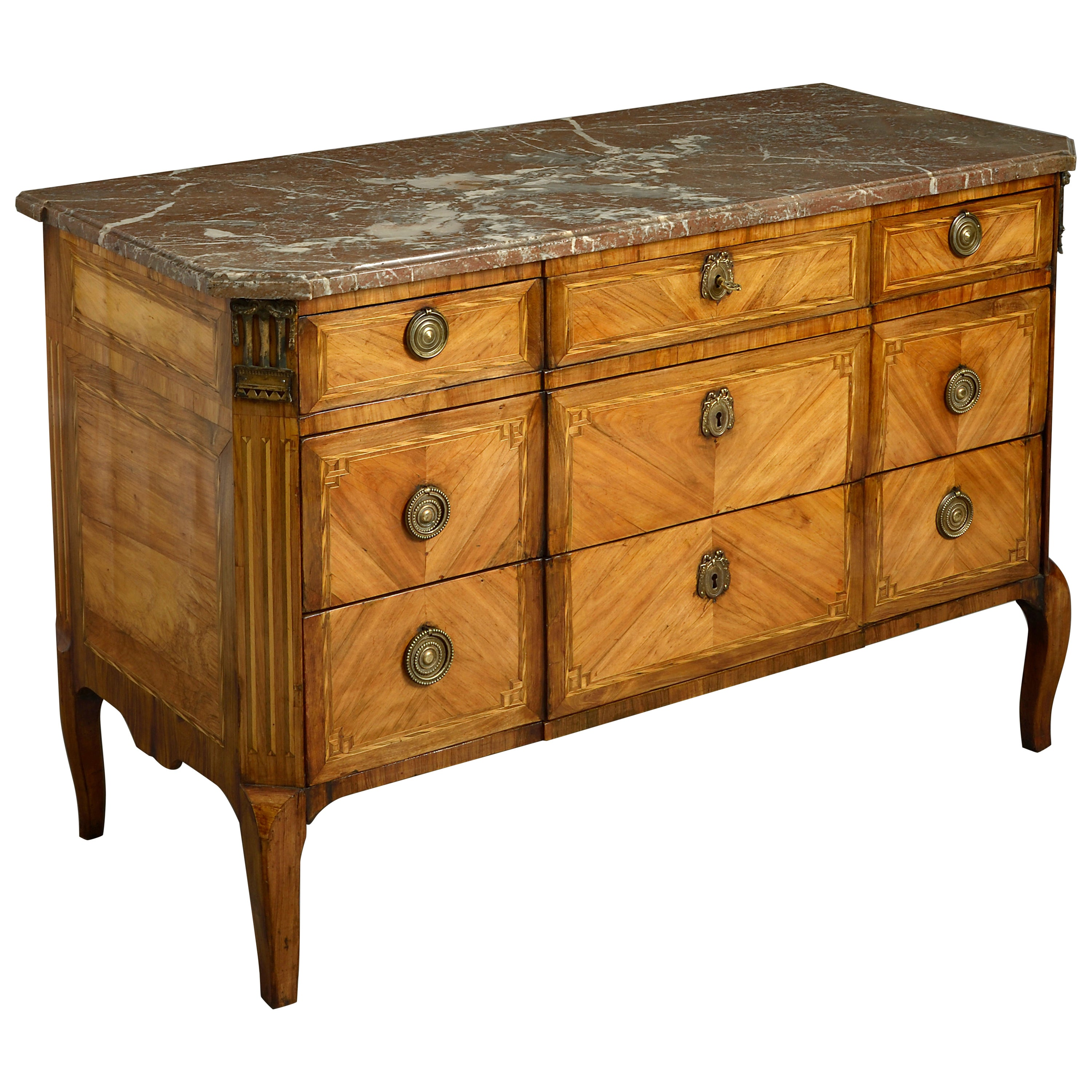 18th Century Louis XVI Transitional Parquetry Commode