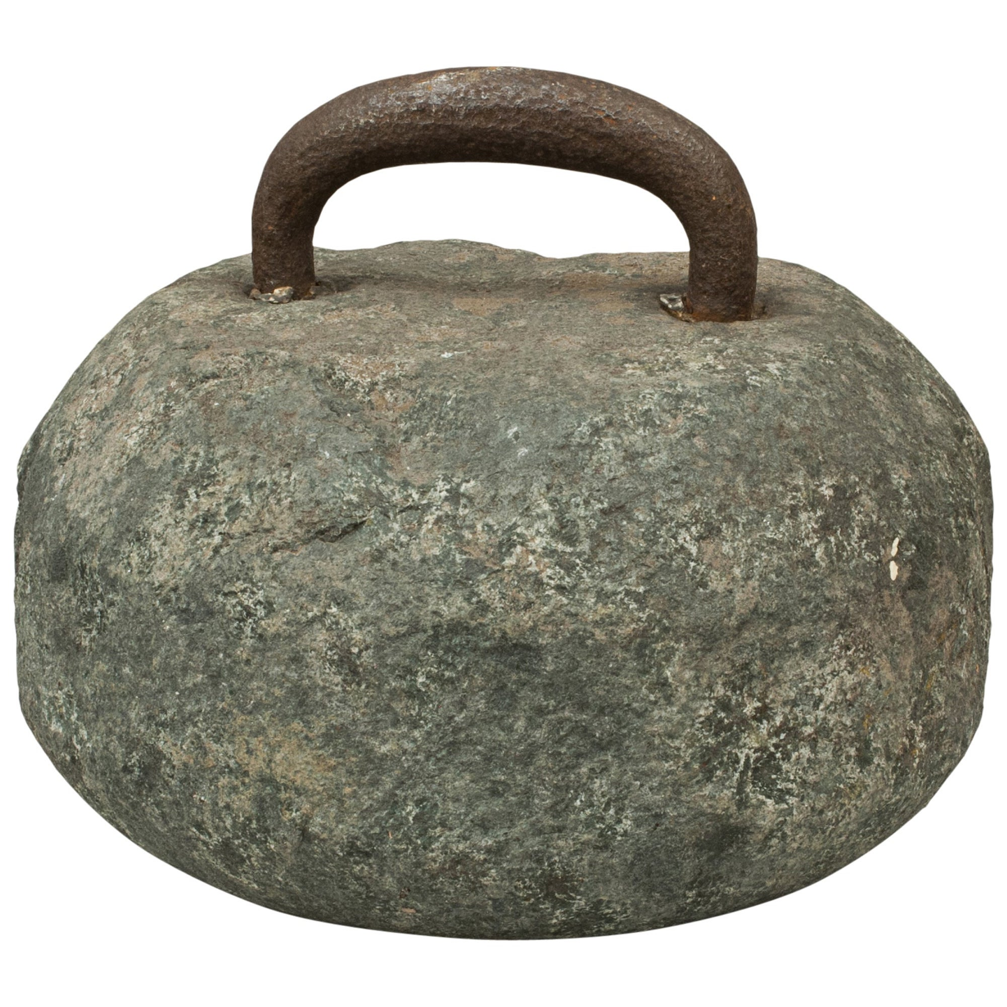 Antique Curling Stone with Fixed Steel Handle