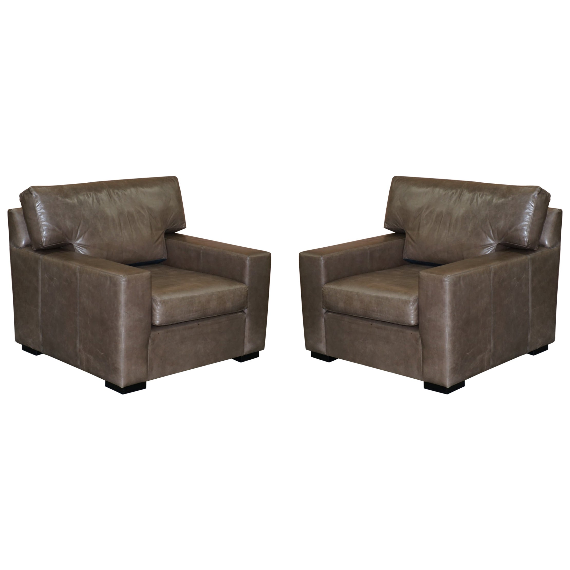 Luxury Pair of Very Large Designer Grey Leather Armchairs or Love Seats