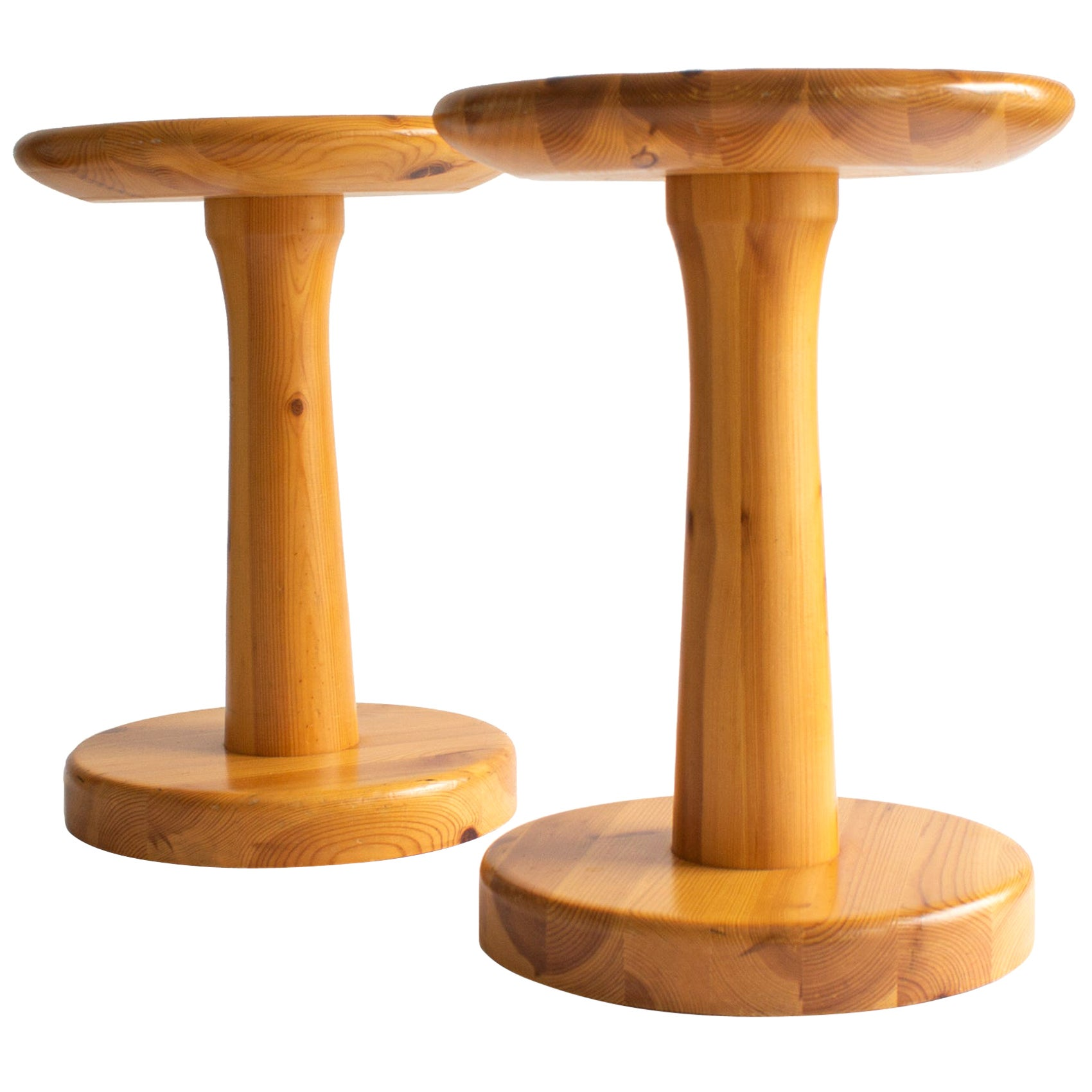 Pair of Scandinavian Modern Tables or Stools from 1960s Made of Solid Pine Wood