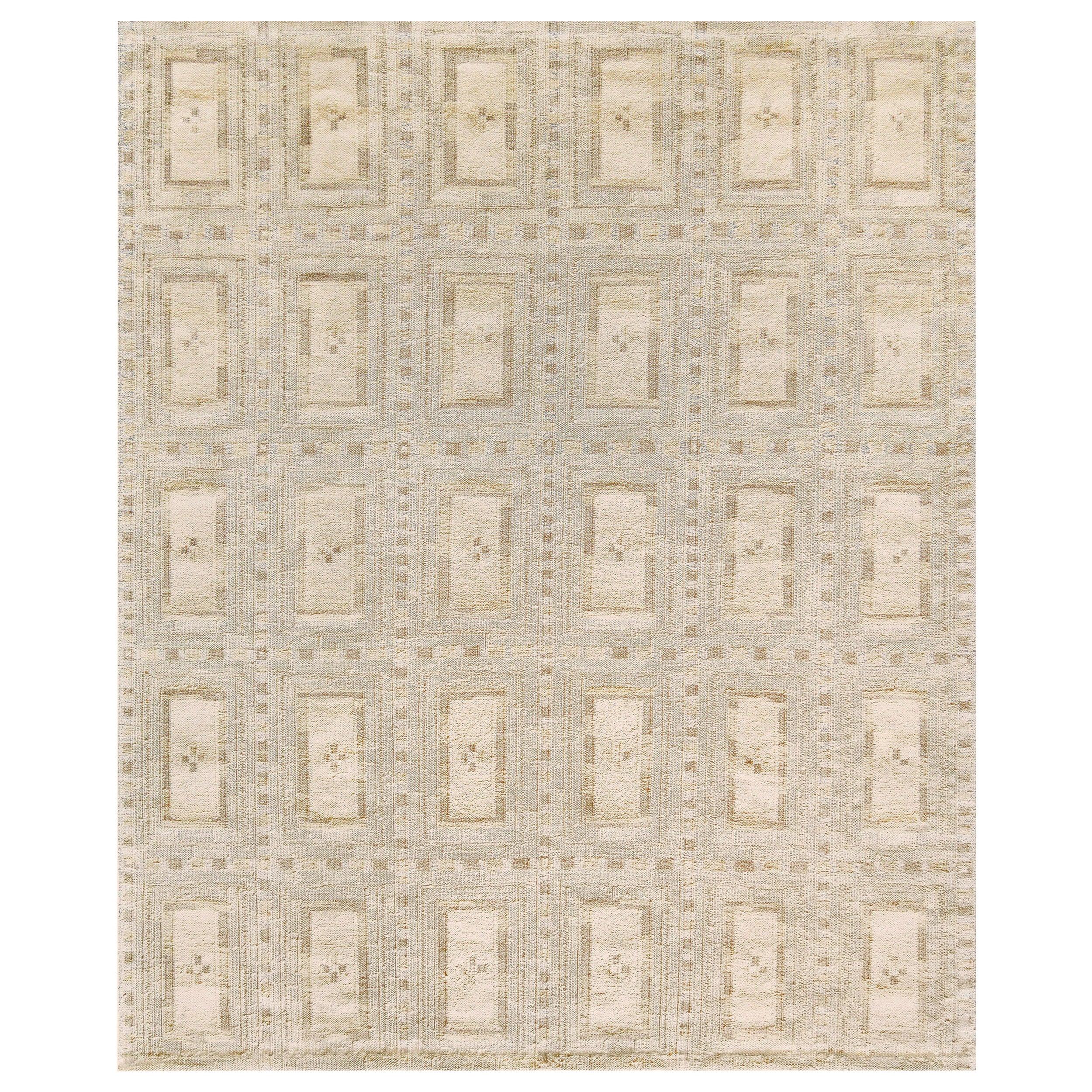 Handwoven Swedish Style Flat-Weave Wool Rug