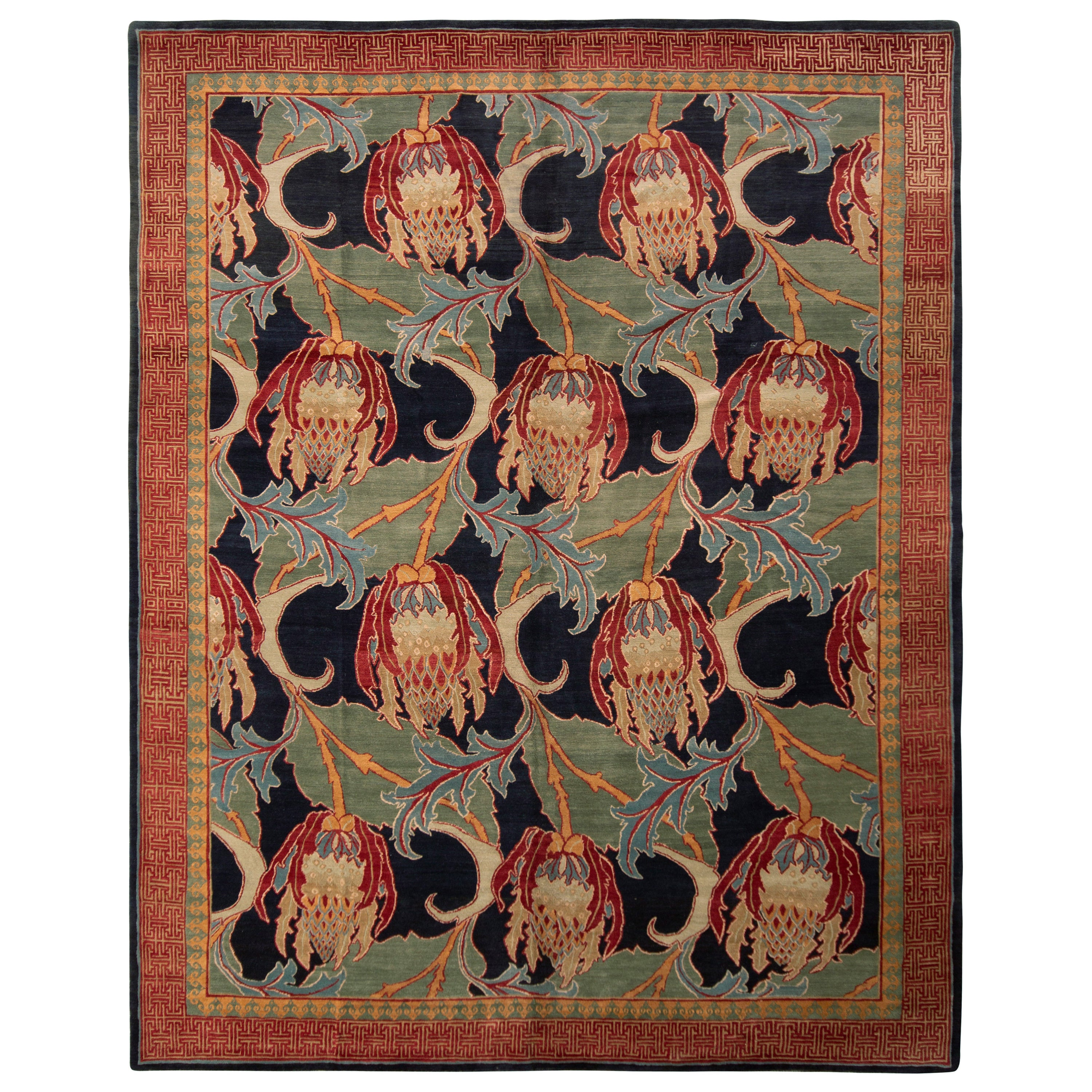 Hand Knotted Floral Rug Red Green Pomegranate Pattern Rug by Rug & Kilim
