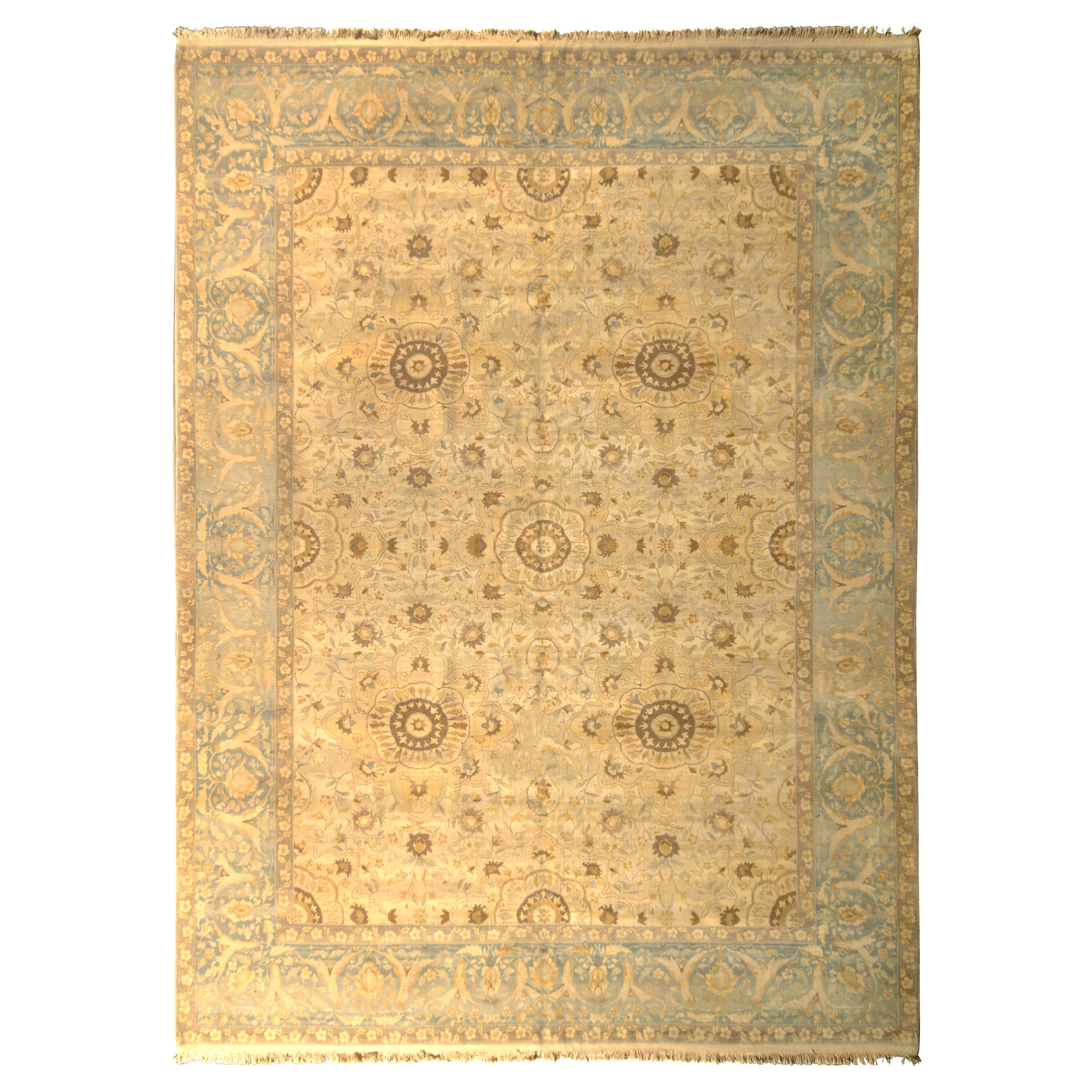Sultanabad Style Rug Beige Blue Classic Floral Pattern by Rug & Kilim