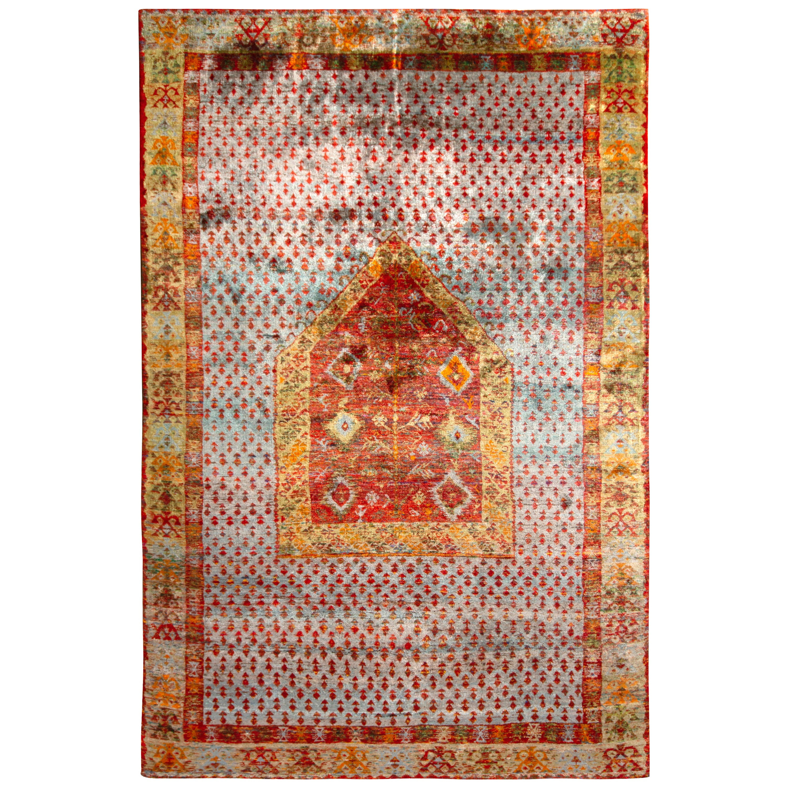 Anatolian Style Pure Silk Rug Blue Gold and Red Geometric Pattern by Rug & Kilim