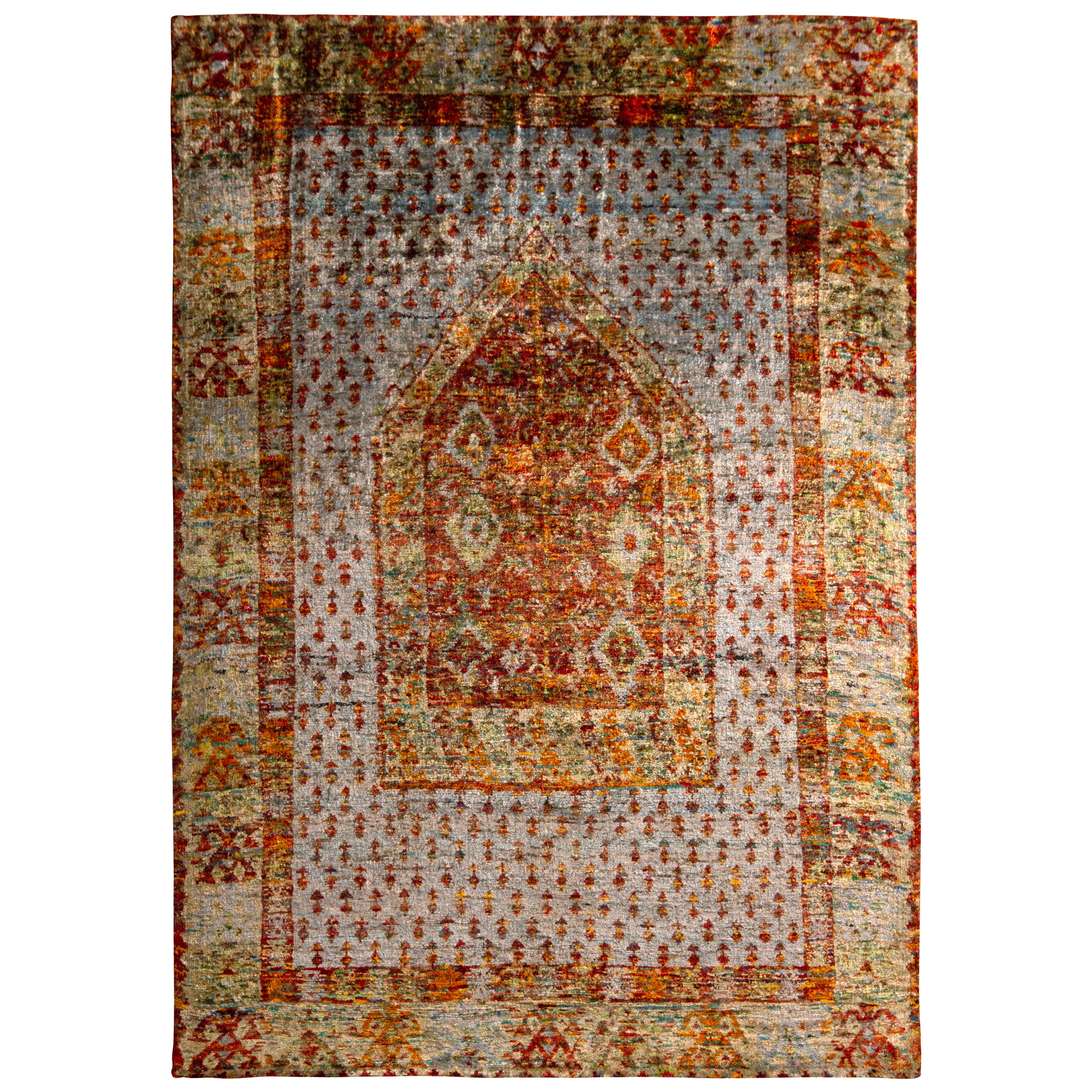 Anatolian Style Pure Silk Rug Red and Blue Geometric Pattern by Rug & Kilim