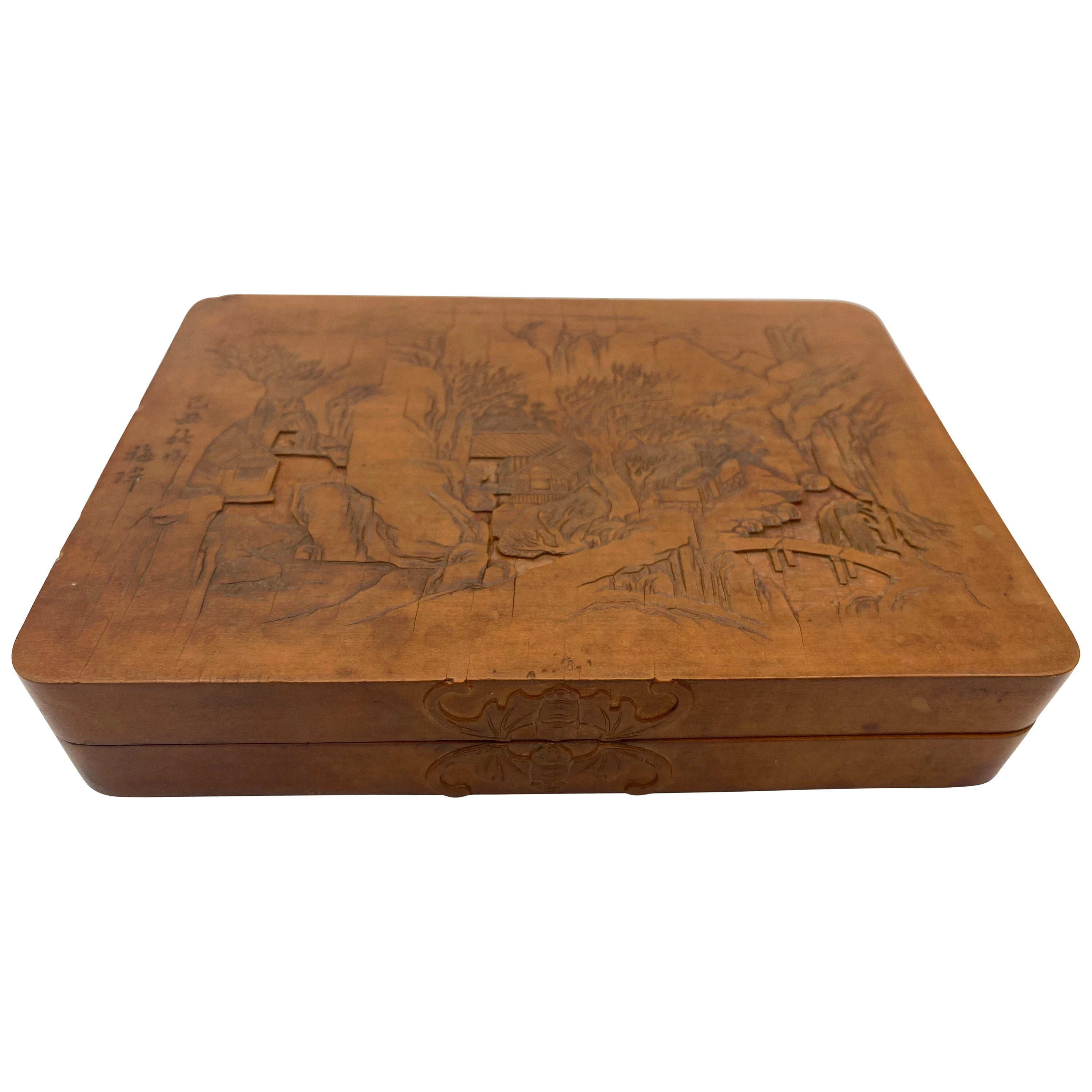 Antique Chinese Bamboo Yellow Box